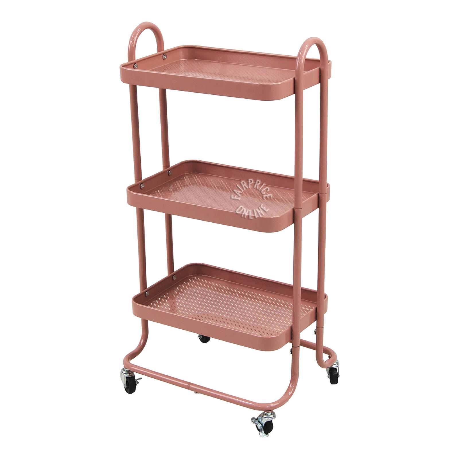 Homeproud Kitchen Trolley - Dark Pink
