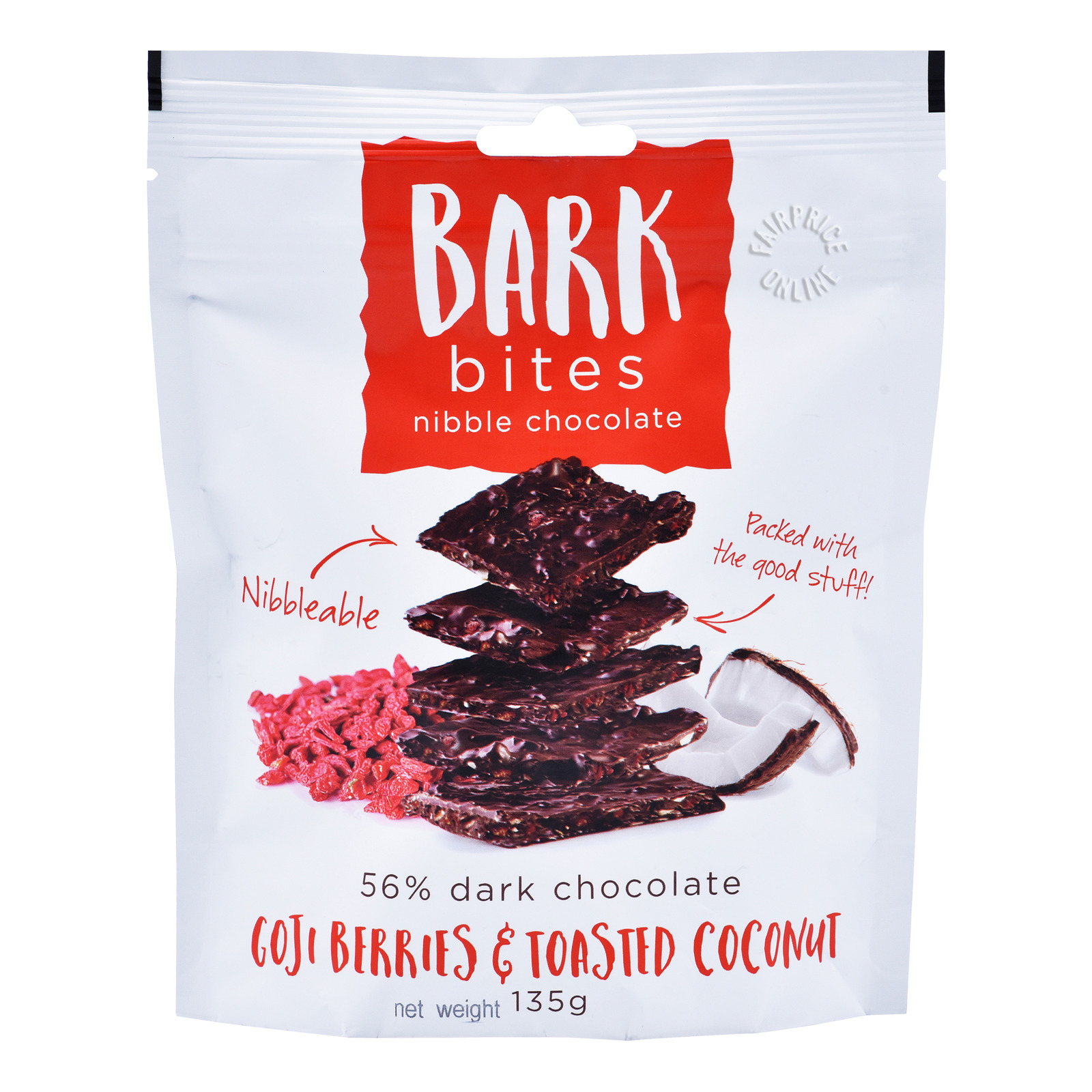Bark Bites Dark Chocolate Nibble -Goje Berries & Toasted Coconut