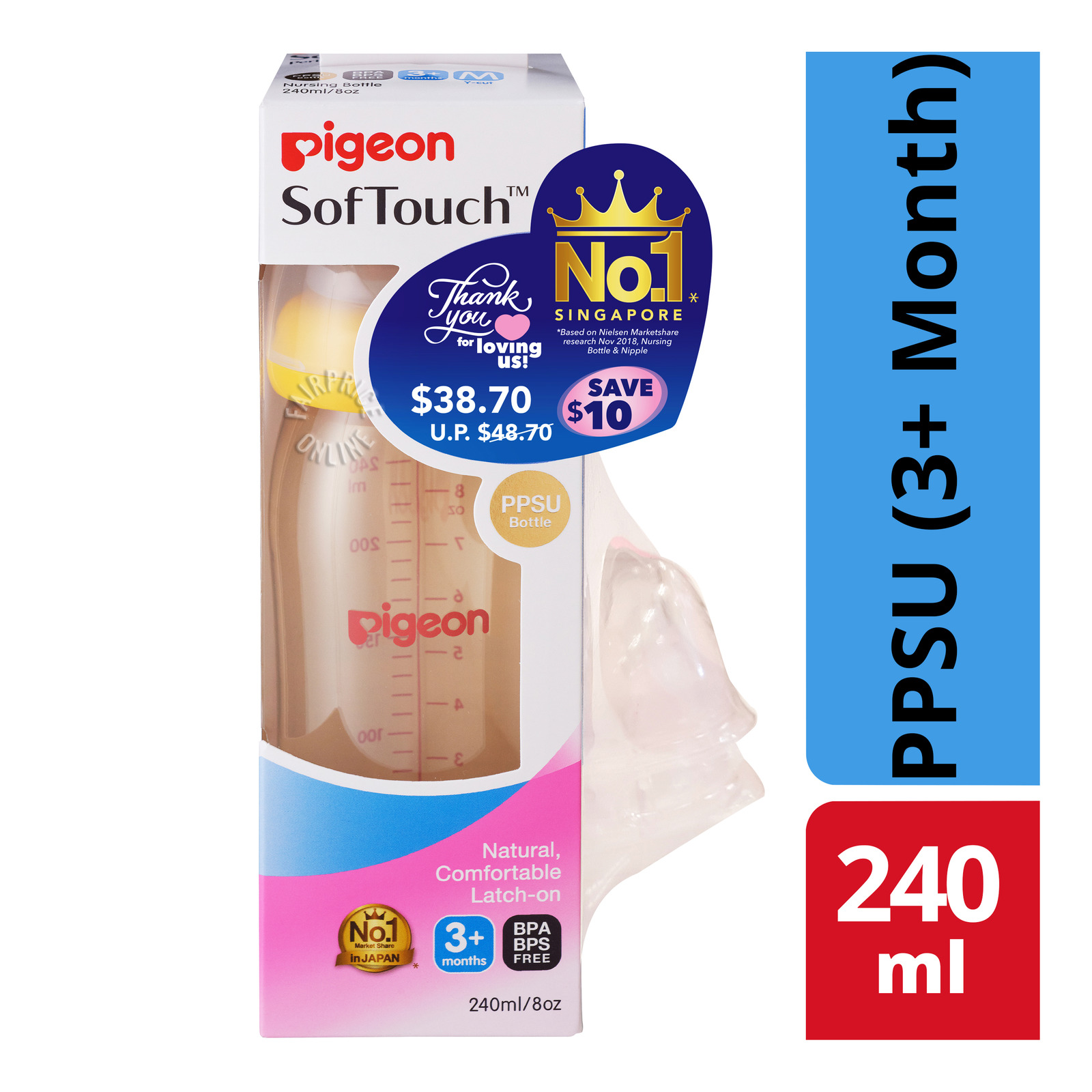 Pigeon SofTouch Baby Bottle - PPSU (3+ Month)