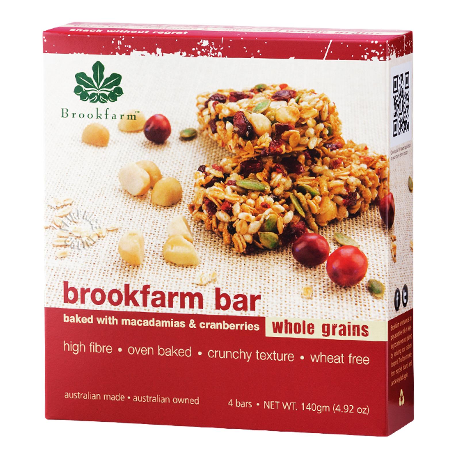 Brookfarm Wholegrain Cereal Bar - Macademia & Cranberries