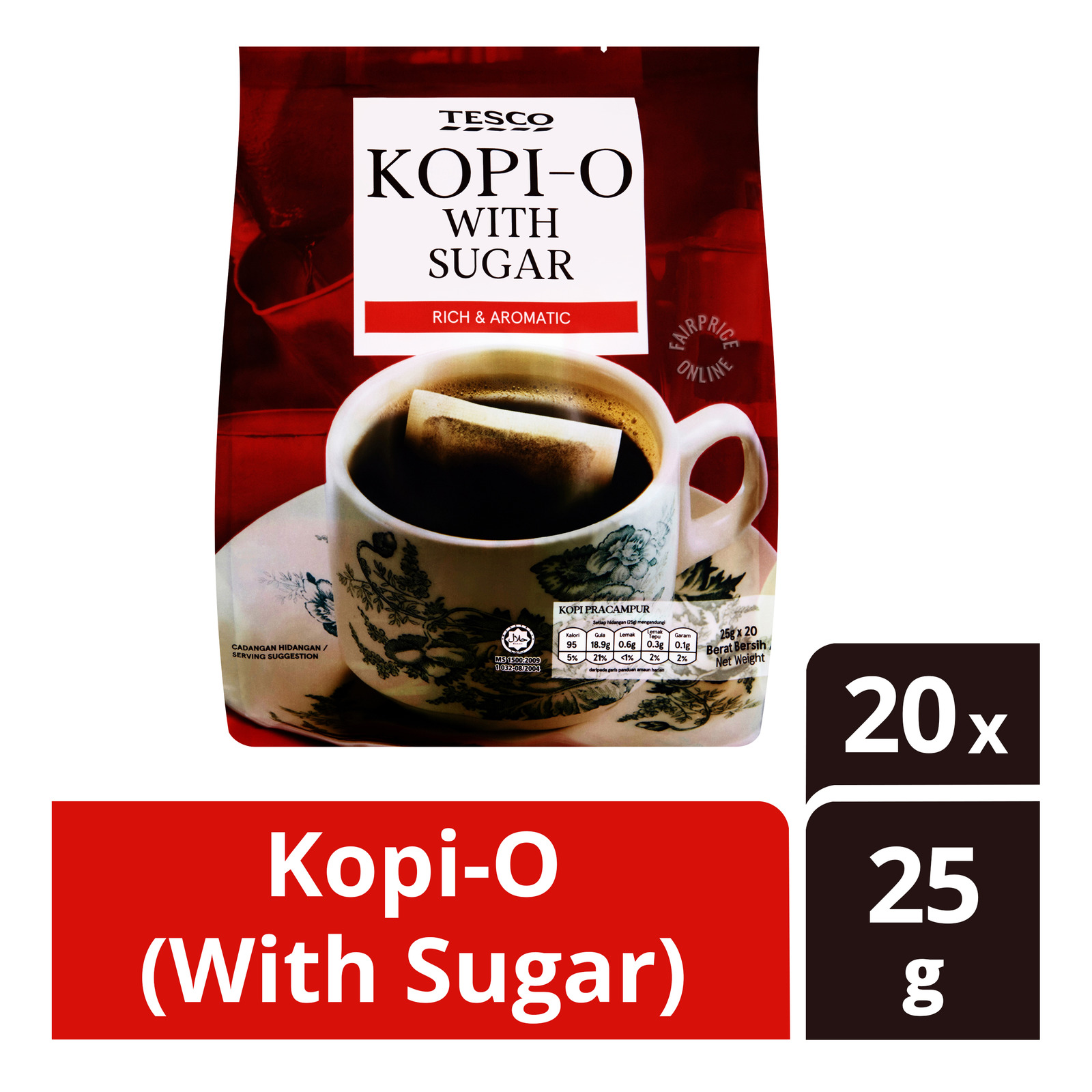 Tesco 3-in-1 Instant Coffee - Kopi-O (With Sugar)