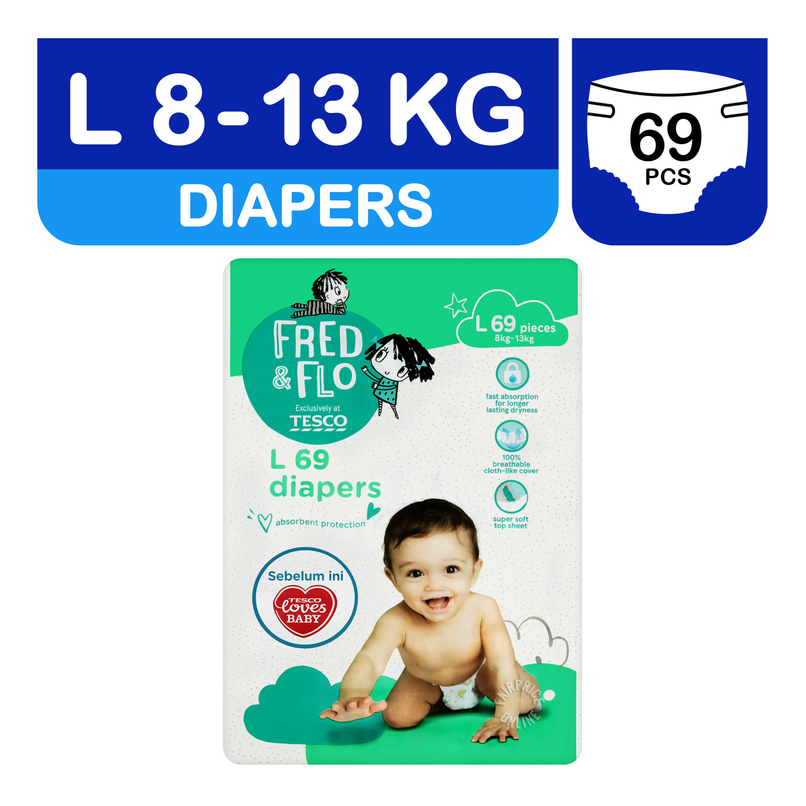 Tesco Fred & Lo Diapers - L (8 - 13kg)