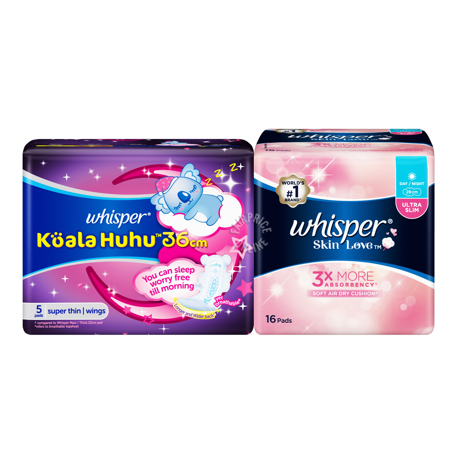 WHISPER skin love ultra slim day night sanitary napkin 28cm 16pads