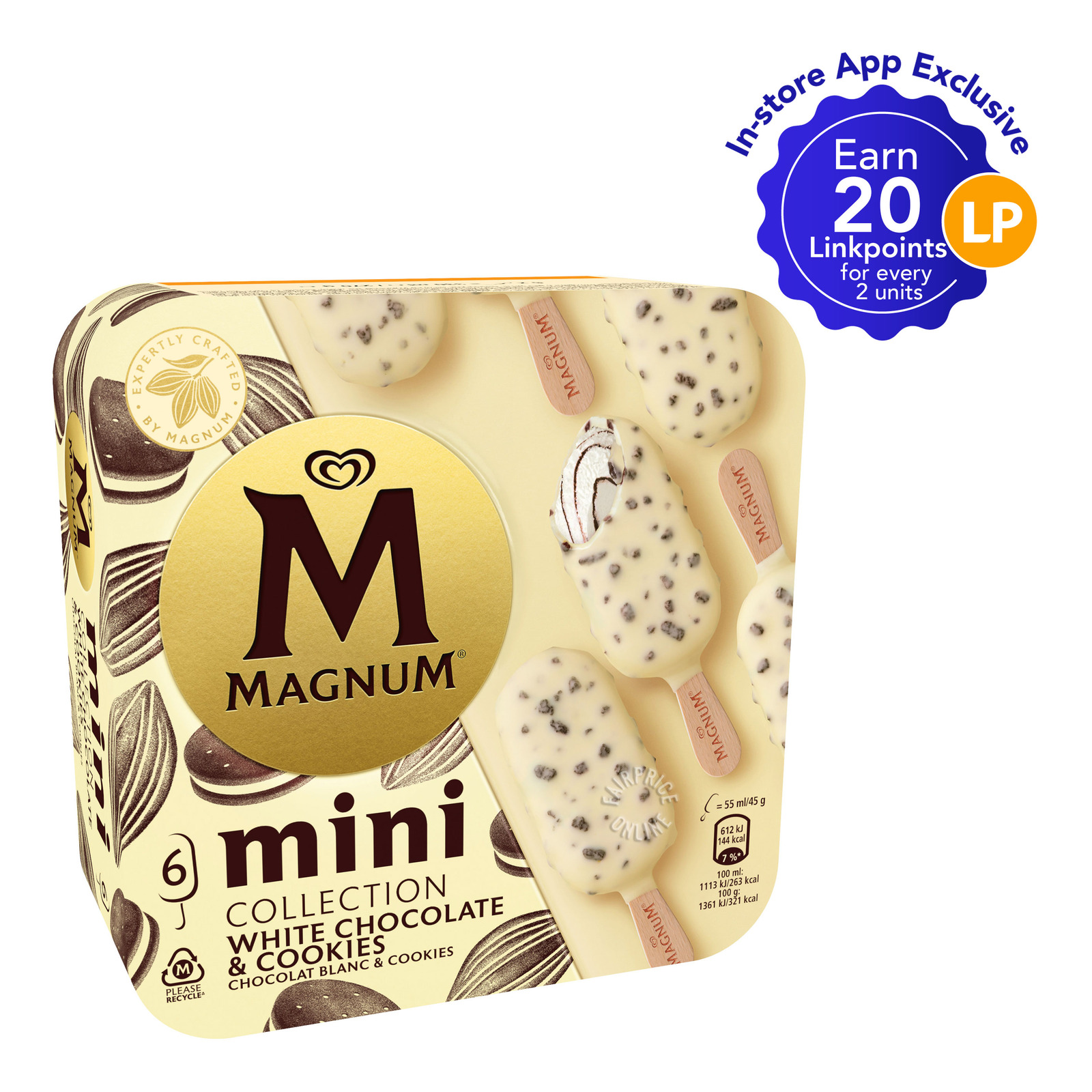 Magnum Mini Ice Cream - White Chocolate & Cookies