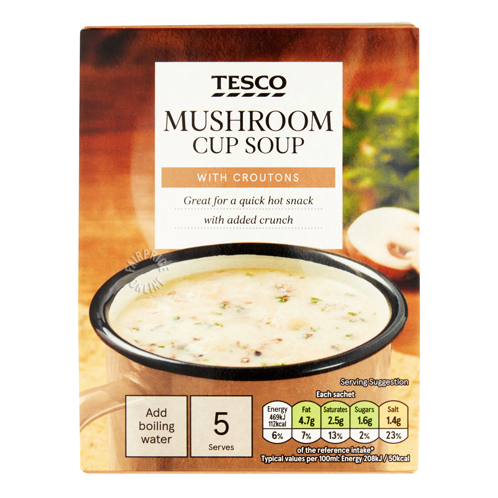 Tesco Instant Cup Soup - Mushroom With Croutons