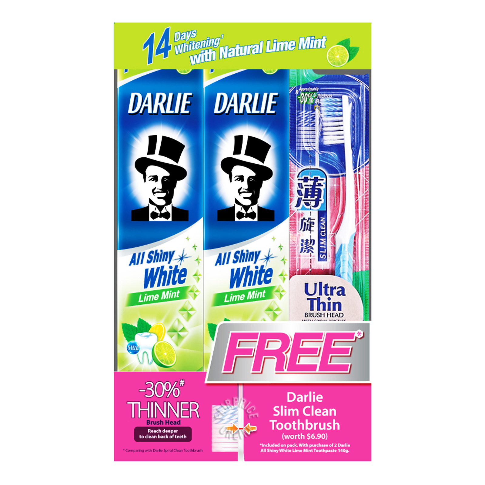 Darlie All Shiny White Toothpaste - Lime Mint + Toothbrush