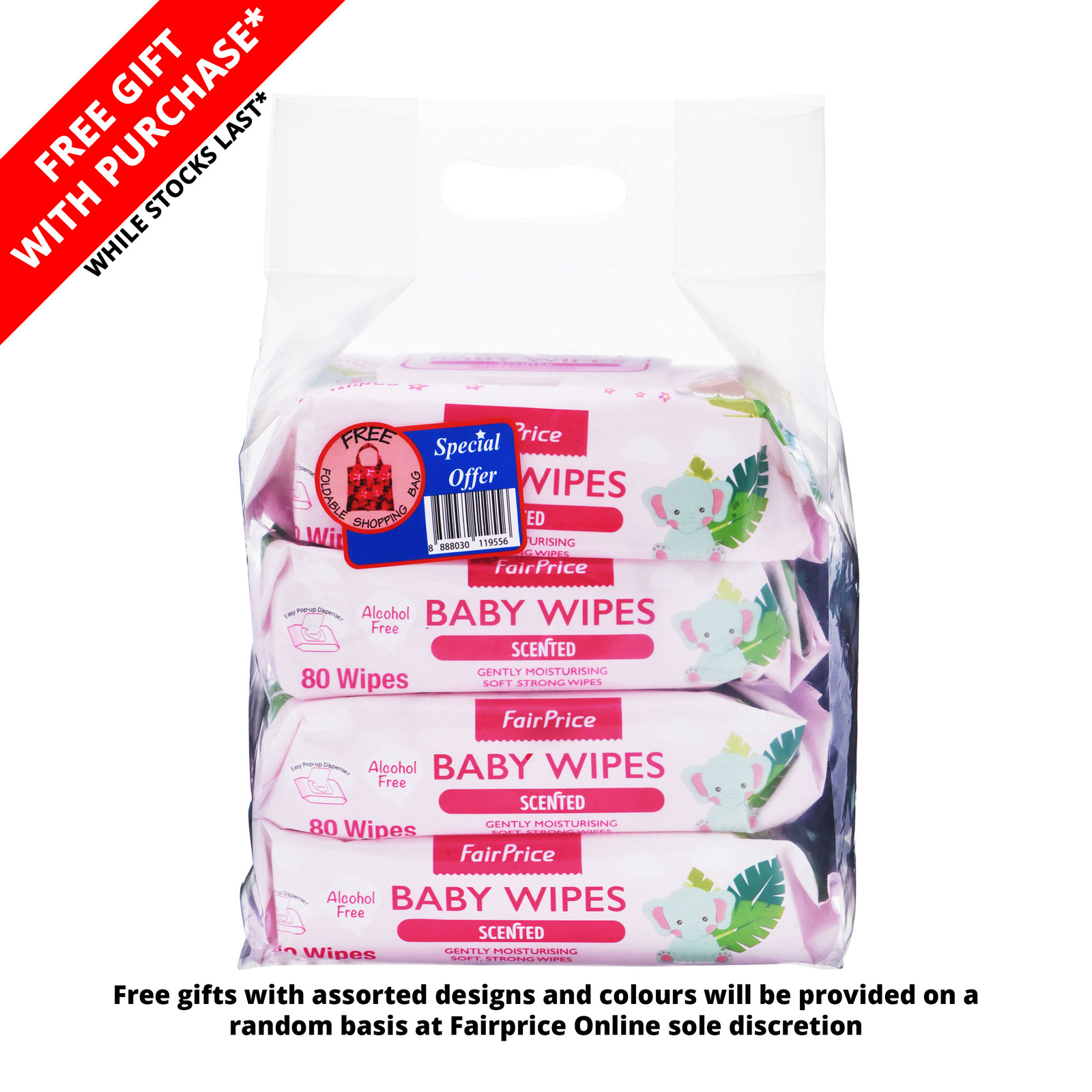 FairPrice Baby Wipes - Scented + Foldable Bag