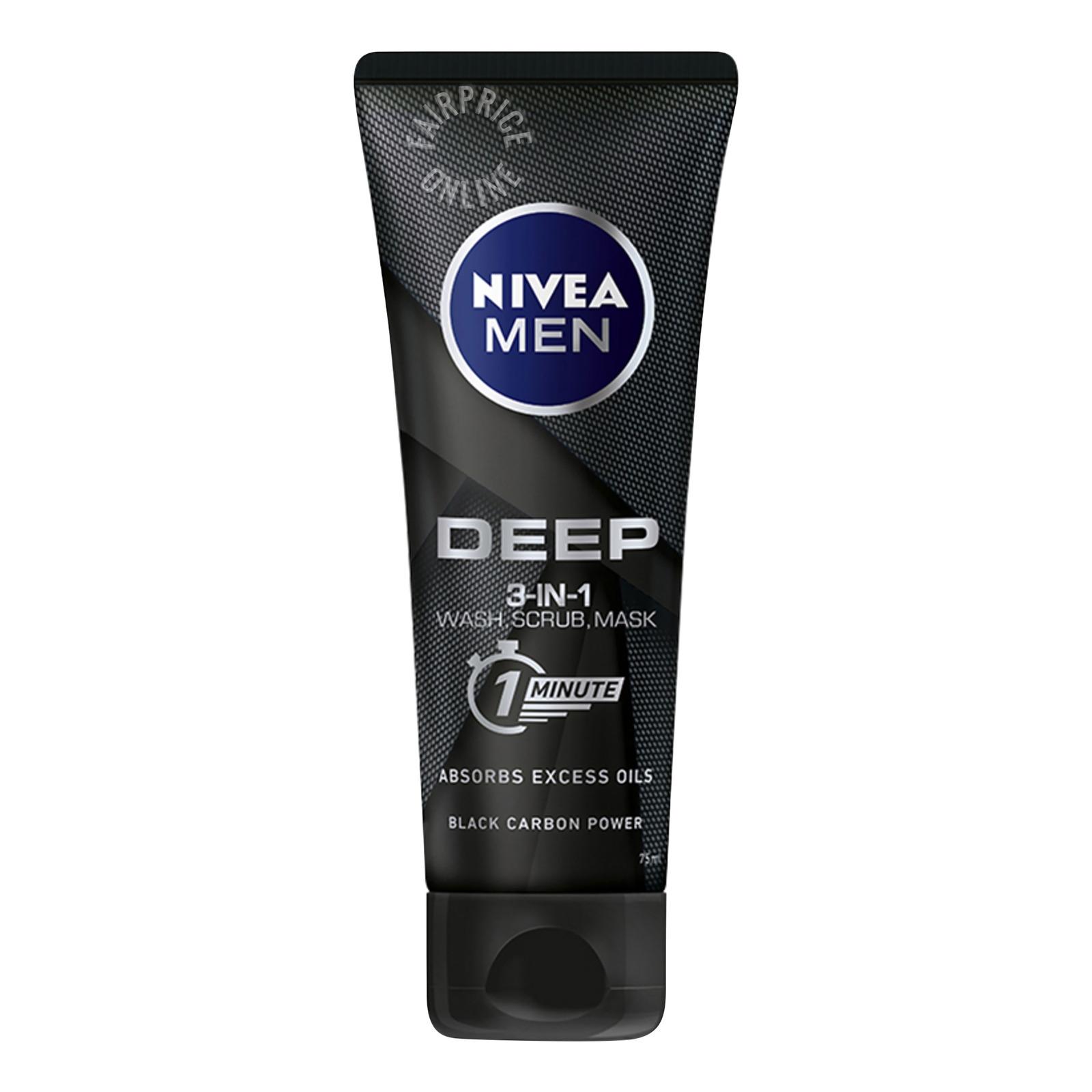 Nivea Men 3-in-1 Wash Scrub Mask - Deep