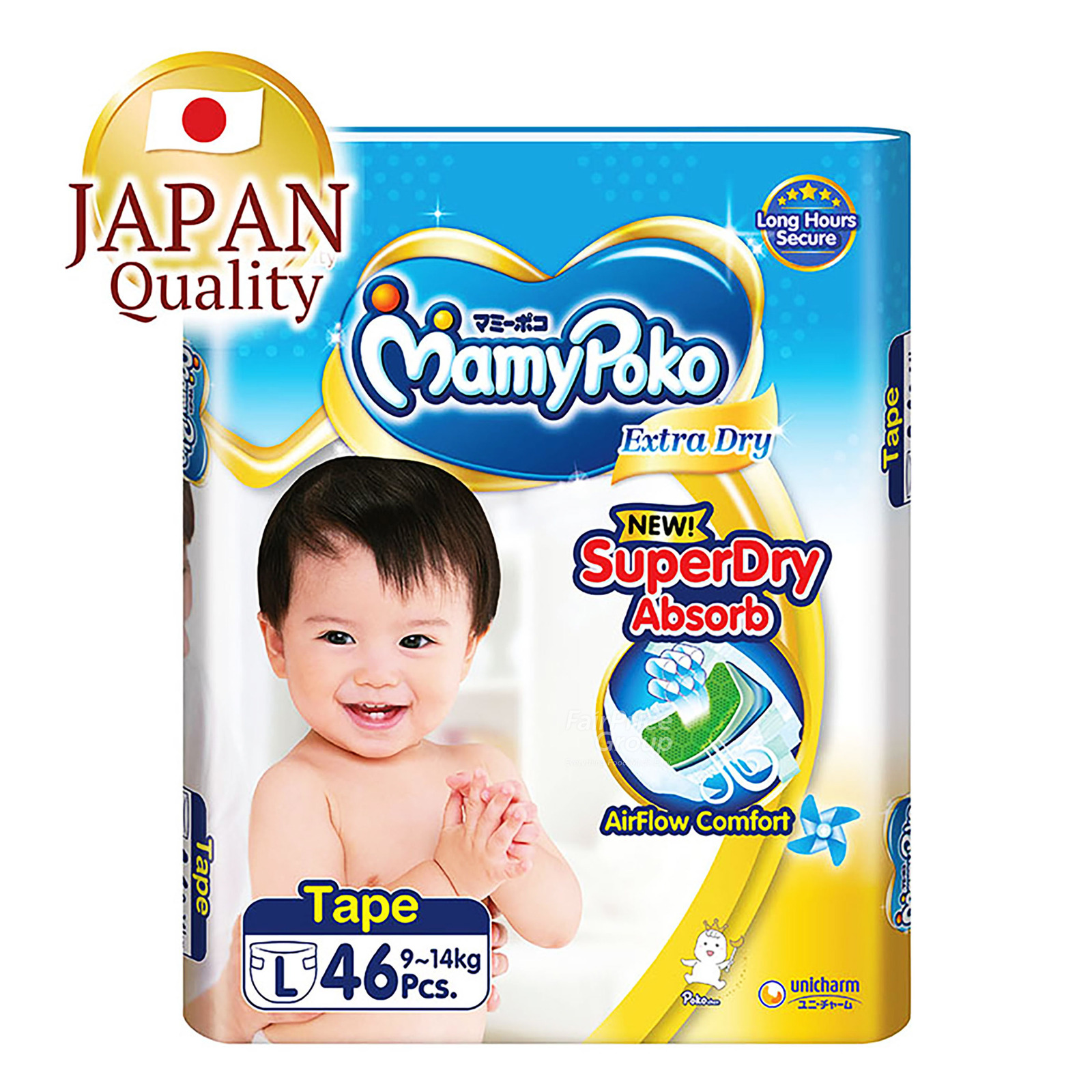 MamyPoko Extra Dry Tape Diapers - L (9 - 14kg)