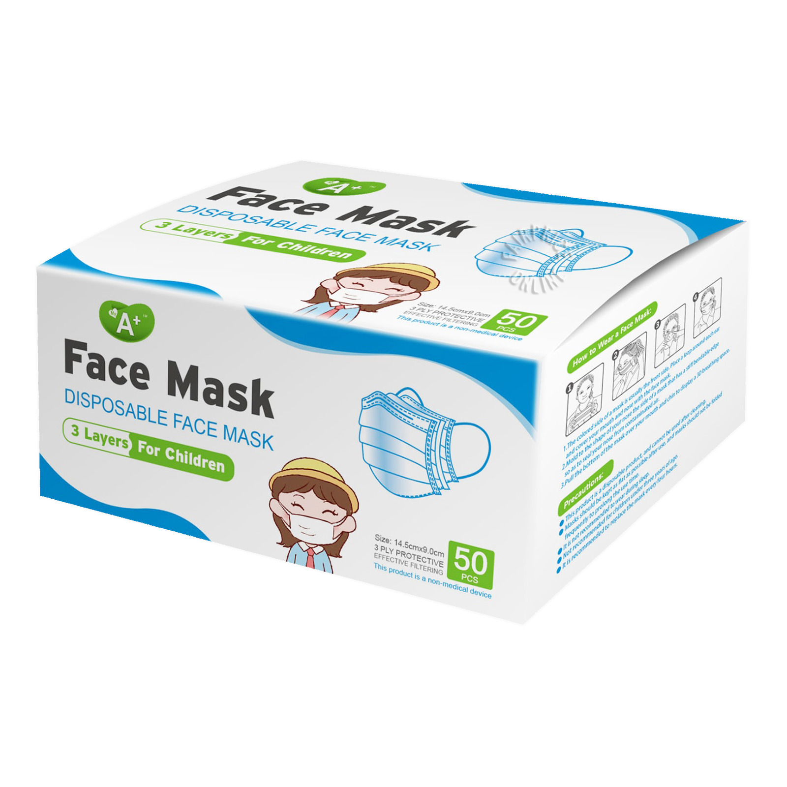 A+ Disposable Face Mask For Children - Blue