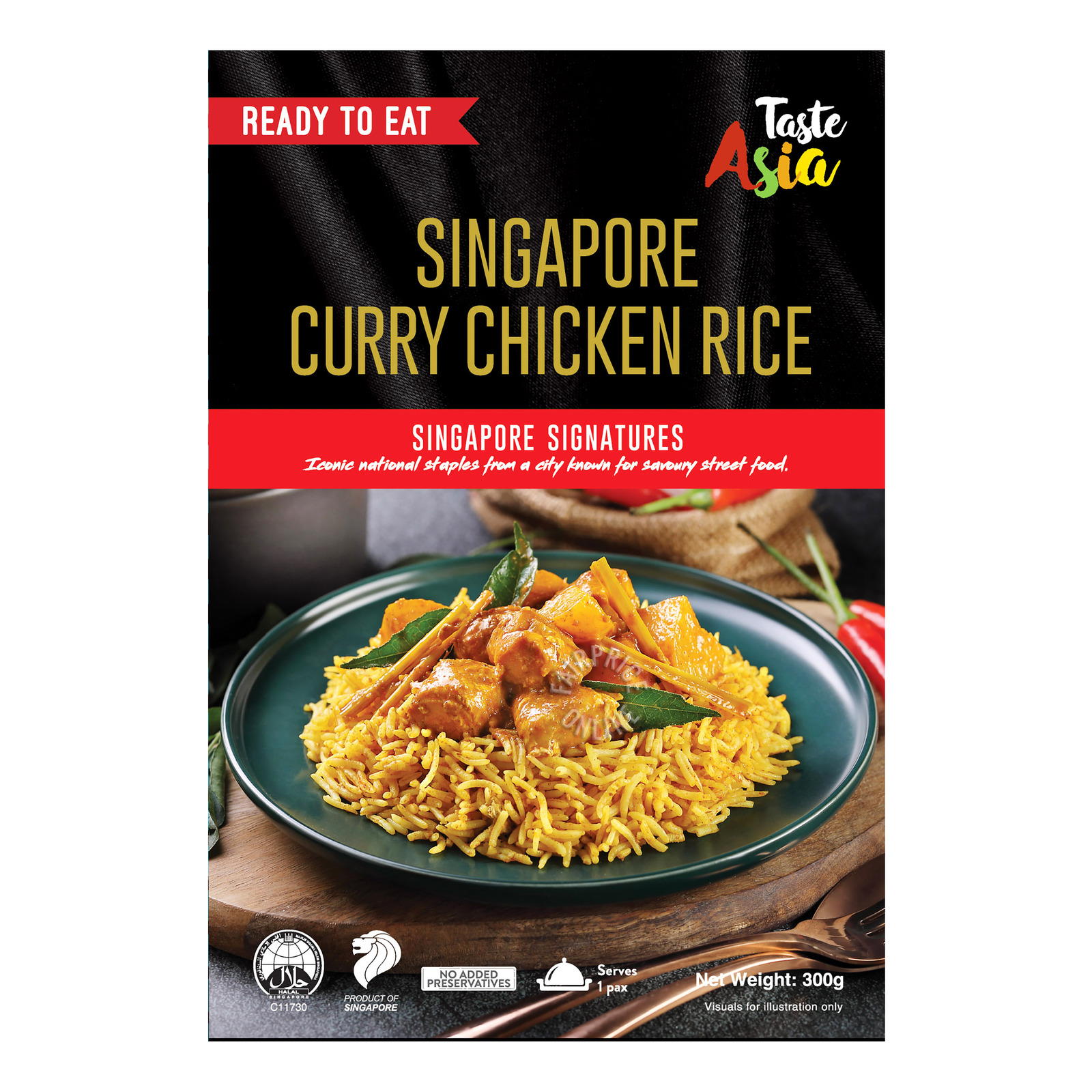 Taste Asia Ready To Eat Meal - Singapore Curry Chicken Rice