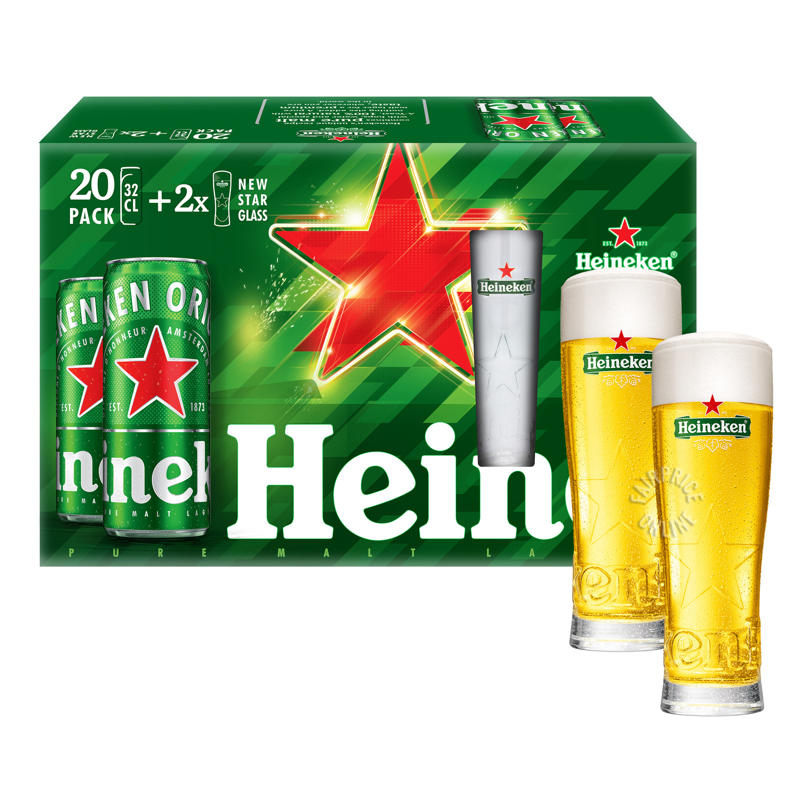 Heineken Premium Lager Can Beer + Star Glass