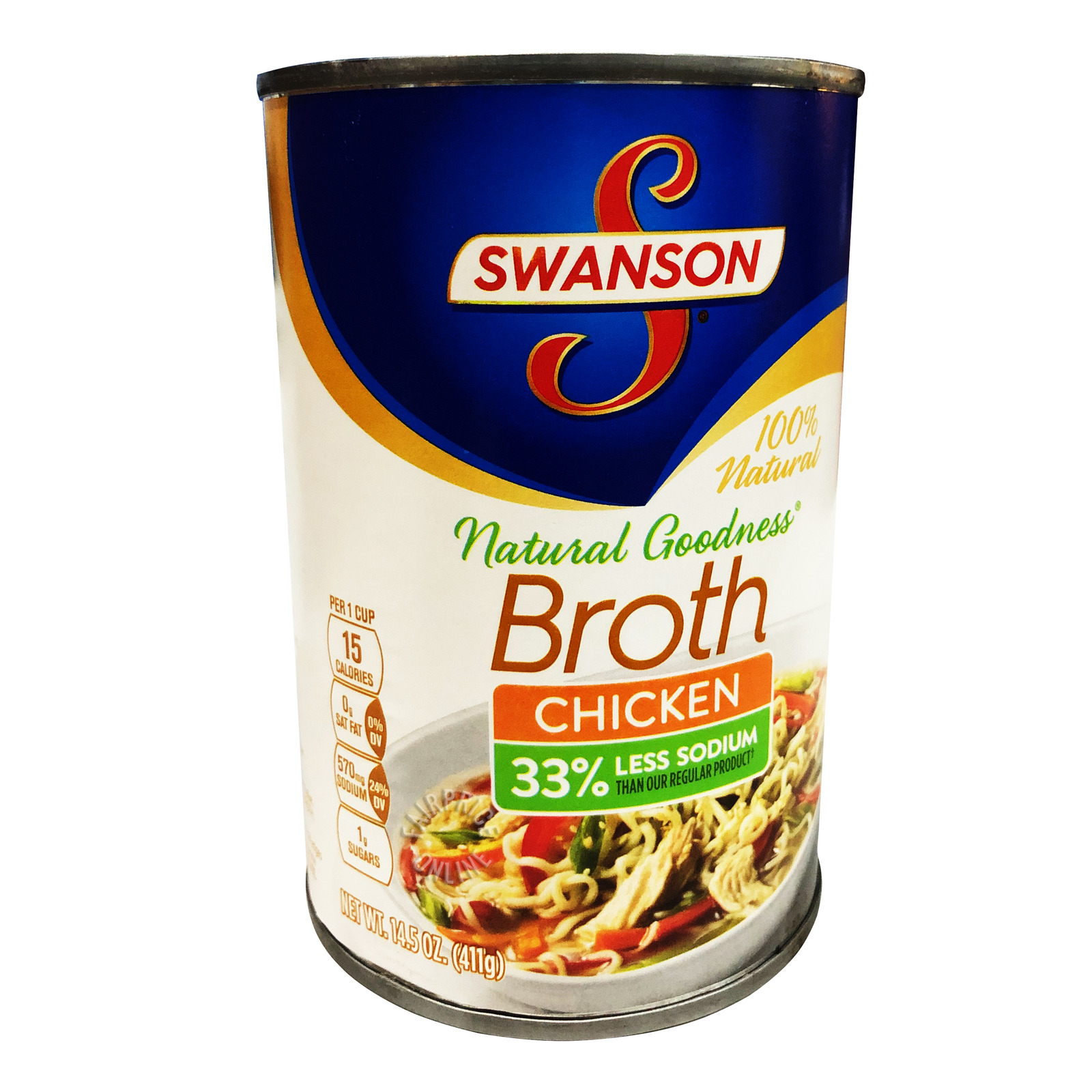 Swanson 100% Fat Free Chicken Broth Can - Less Sodium (No MSG)