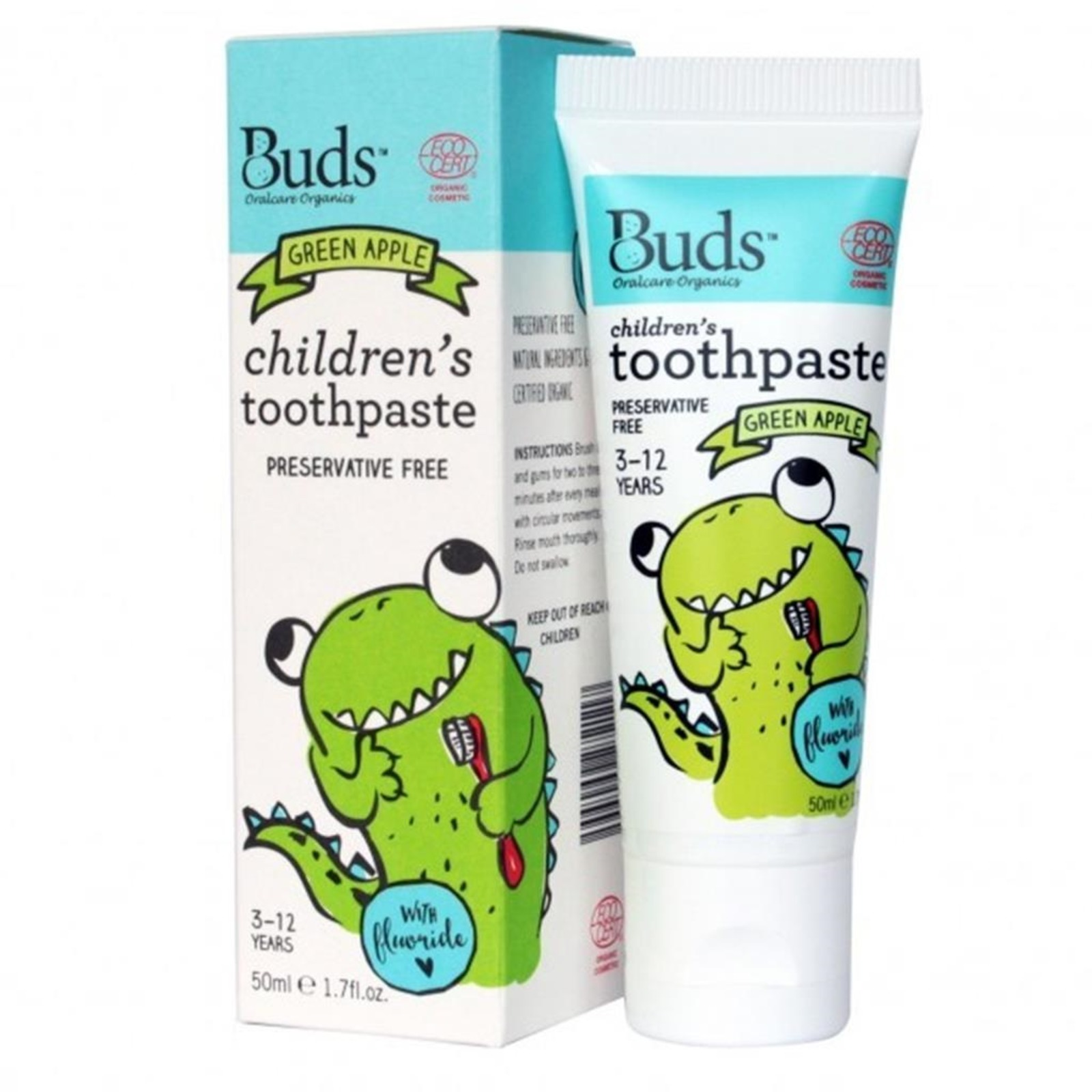 Buds Organics Childrens Toothpaste with Flouride - Green Apple