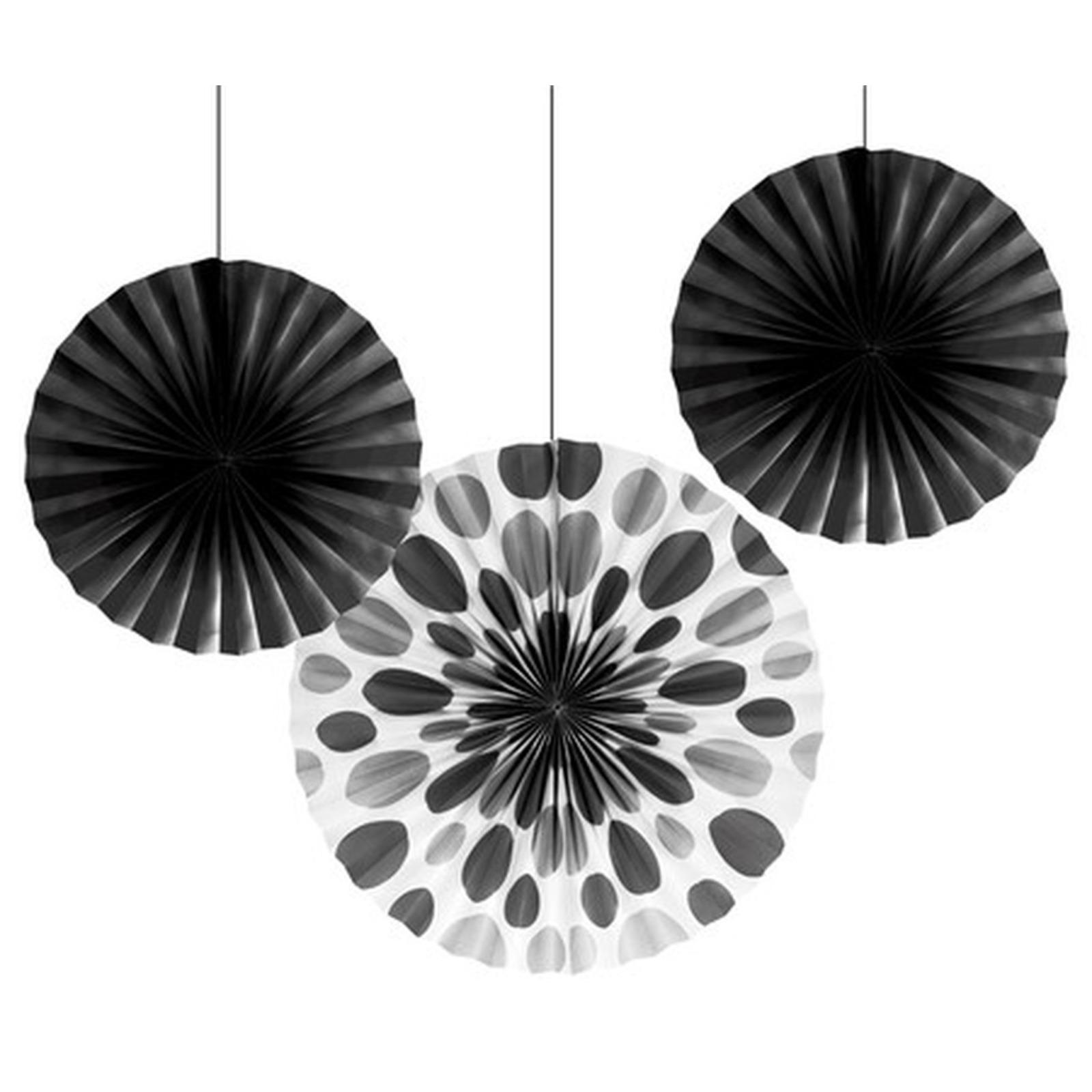 Creative Converting Black Solid Polka Dot Paper Fans