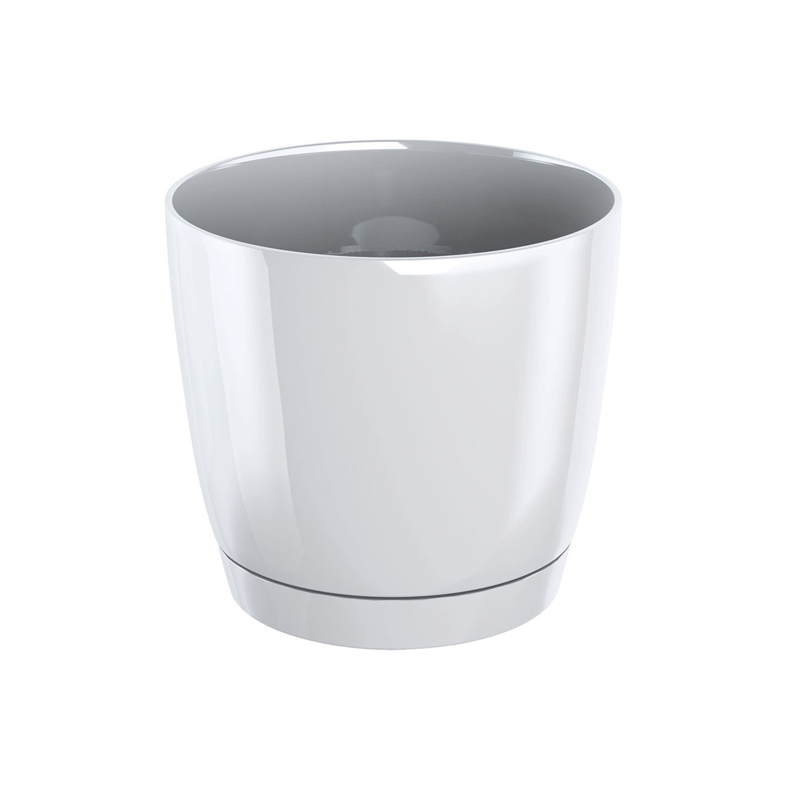 Prosperplast Coubi Flower Pot - White (120mm X 110mm)