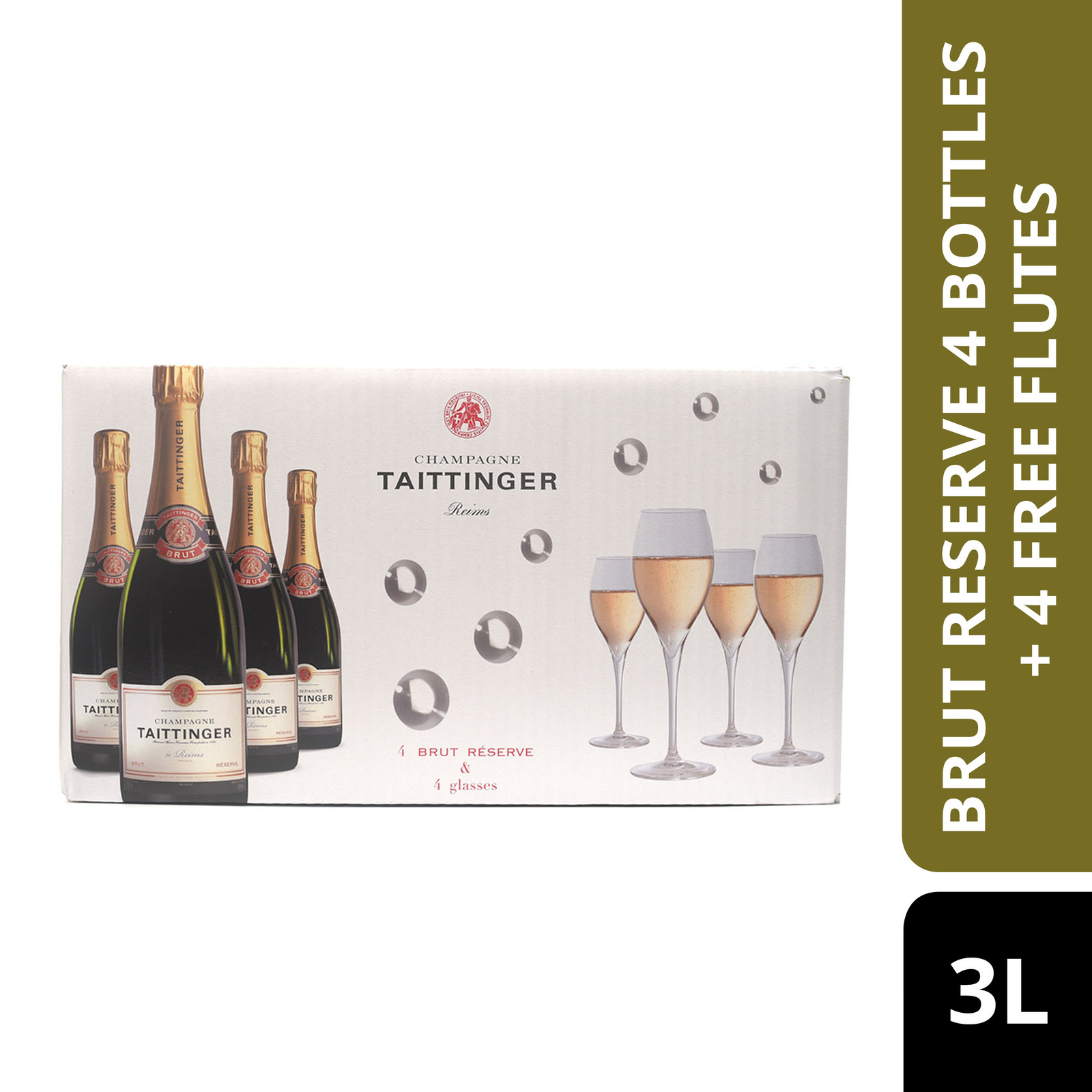 Taittinger Brut Reserve 4 Bottles + 4 Free Flutes-By Culina