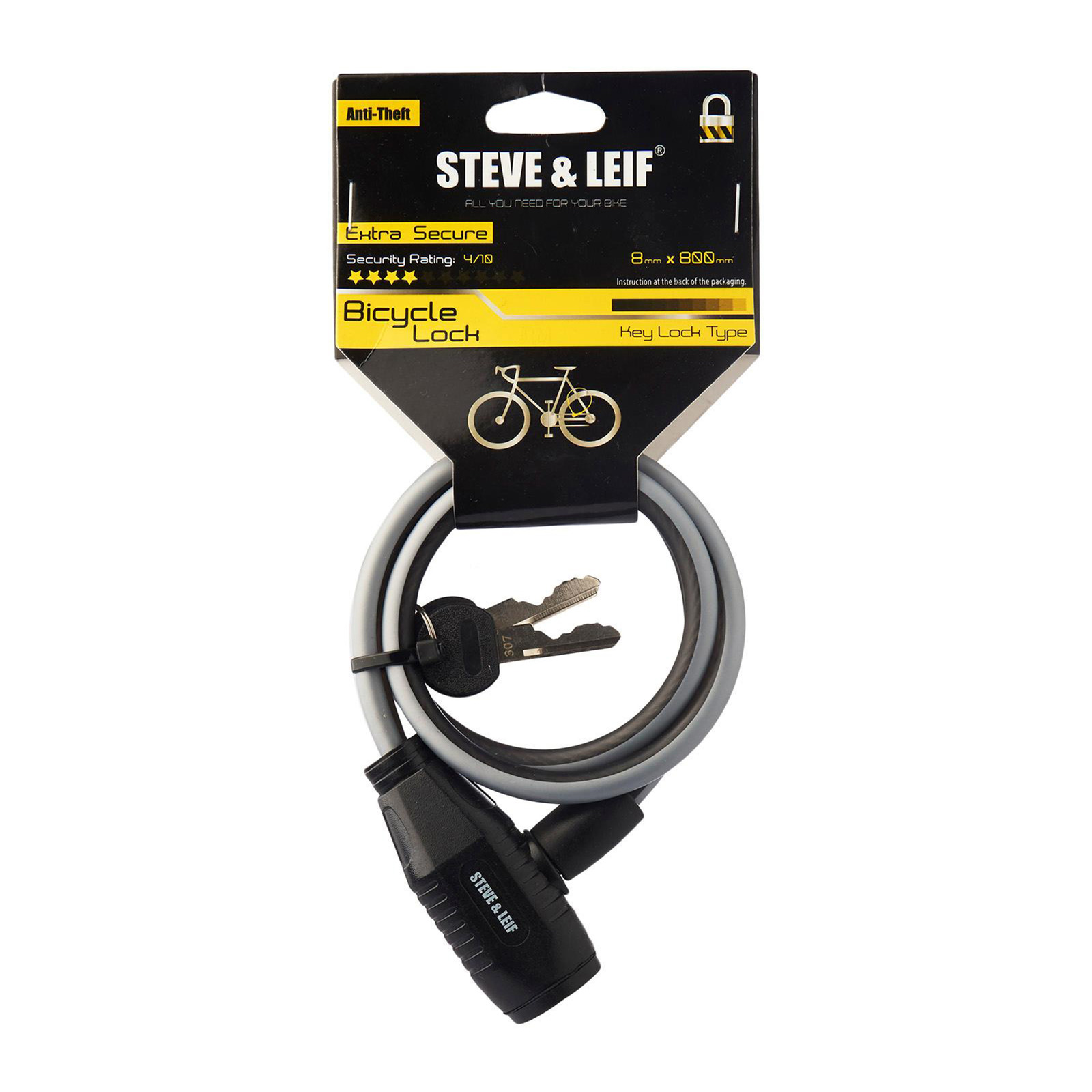 Steve & Leif Bicycle Key Lock (8mmx800mm)