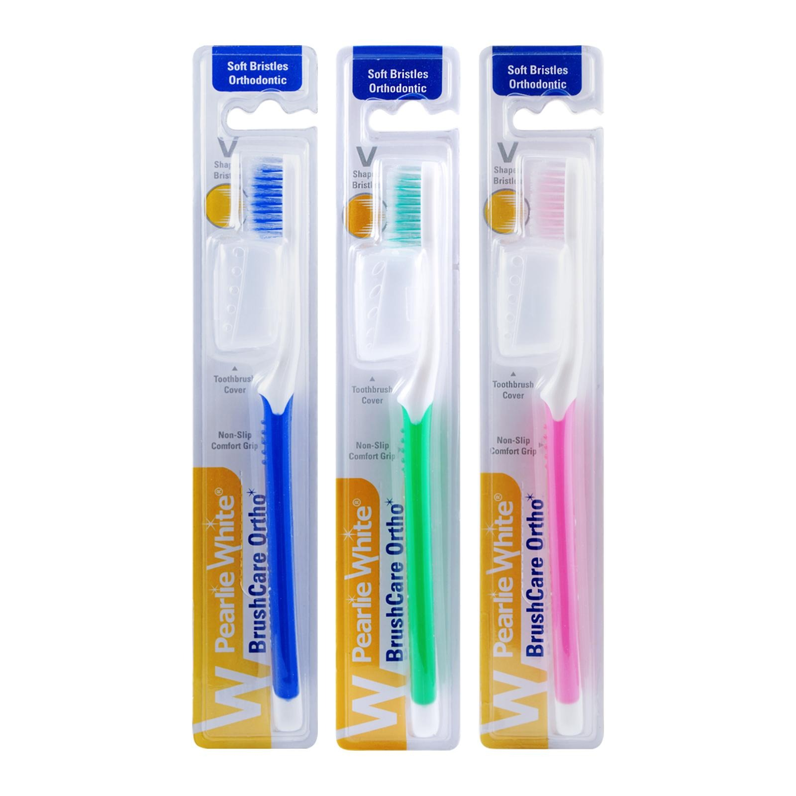 Pearlie White BrushCare Ortho Soft Toothbrush Triple Pack