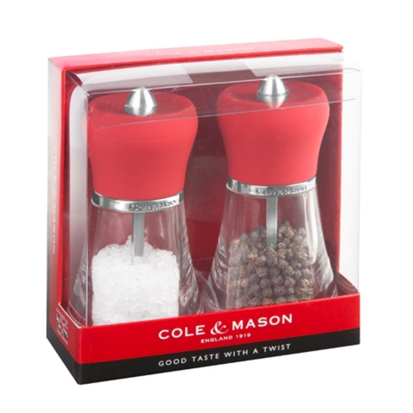COLE&MASON Acrylic Salt & Pepper Mill Gift Set H12cm Red
