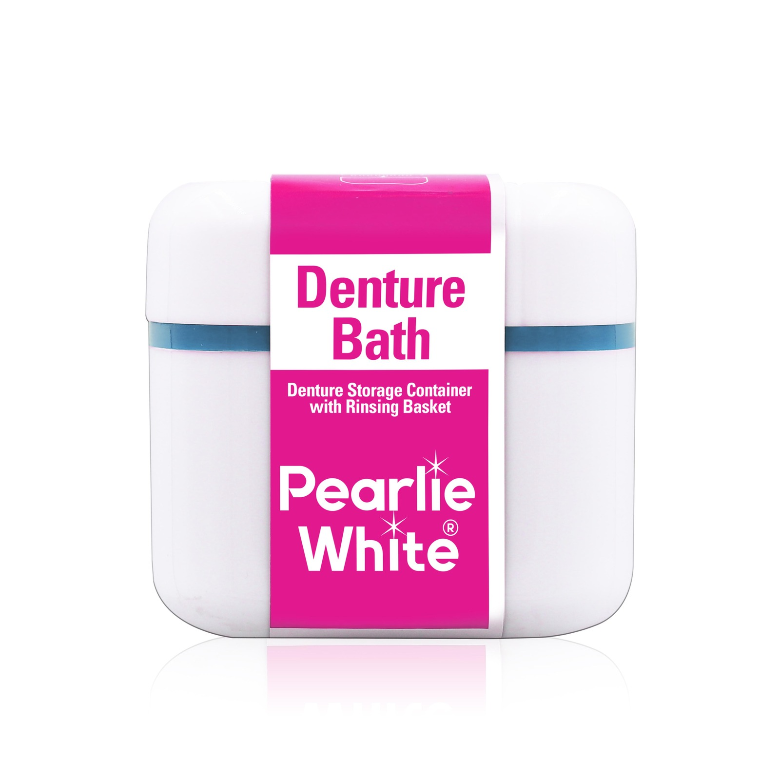 Pearlie White Denture Bath Denture Container with Rinsing Basket