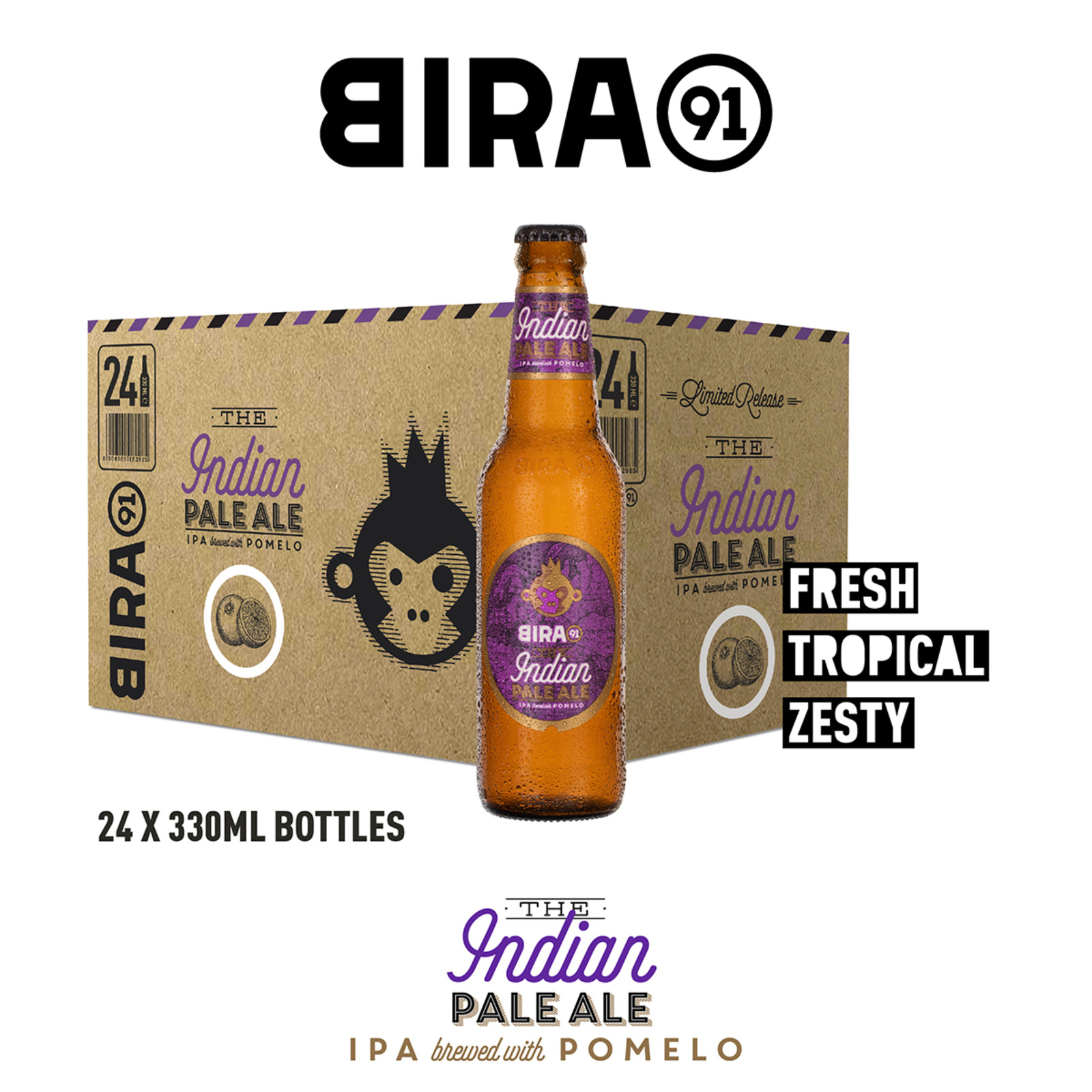 Bira 91 Indian Pale Ale Pomelo Beer 4.5% Bottle - Case