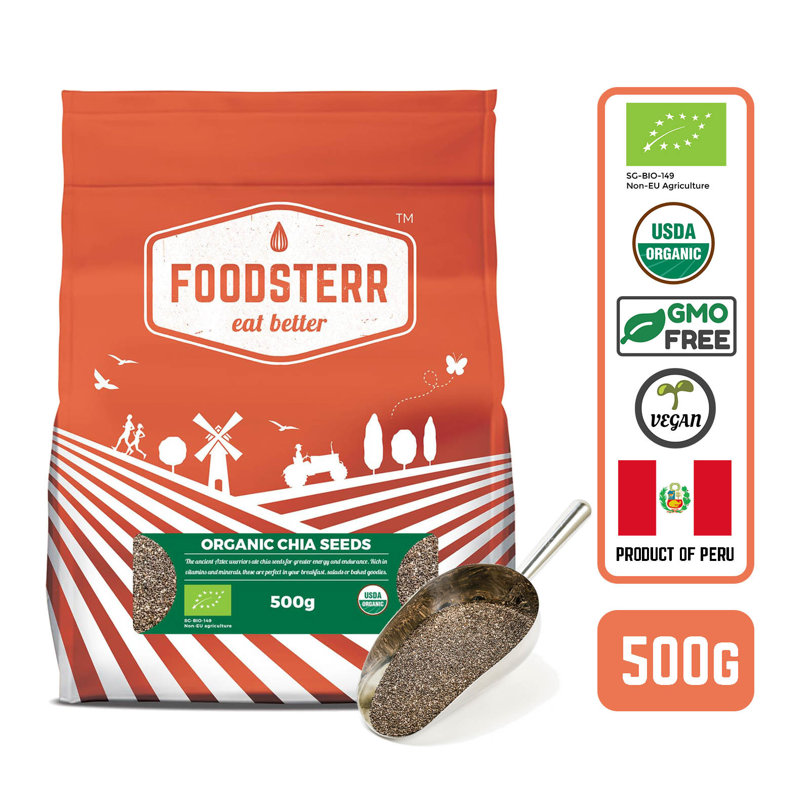 Foodsterr Organic White Black And Gray Chia Seeds