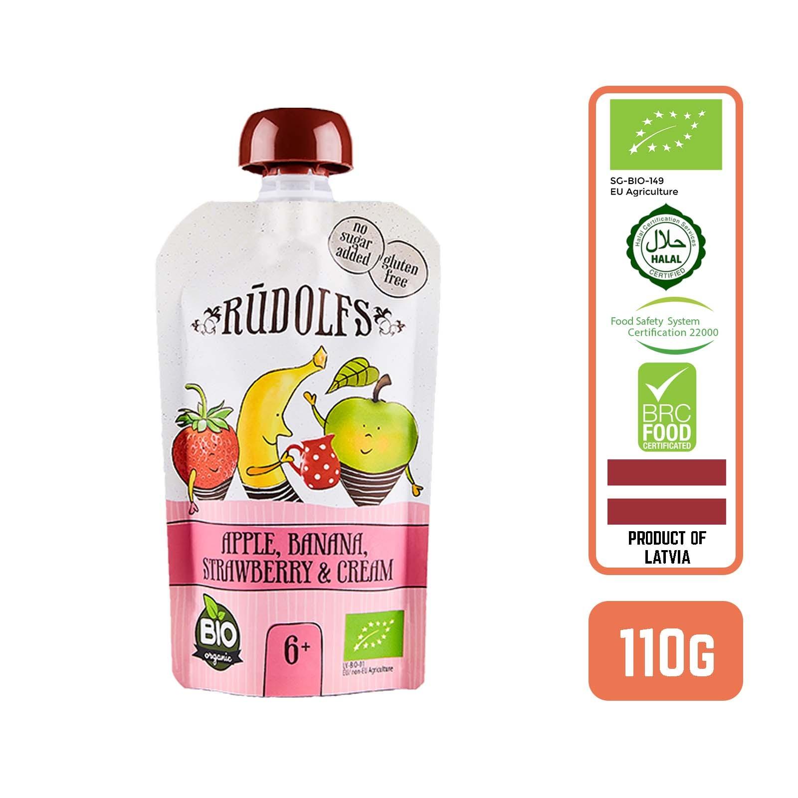 Rudolfs Puree-Organic Apple Banana Strawberry Cream