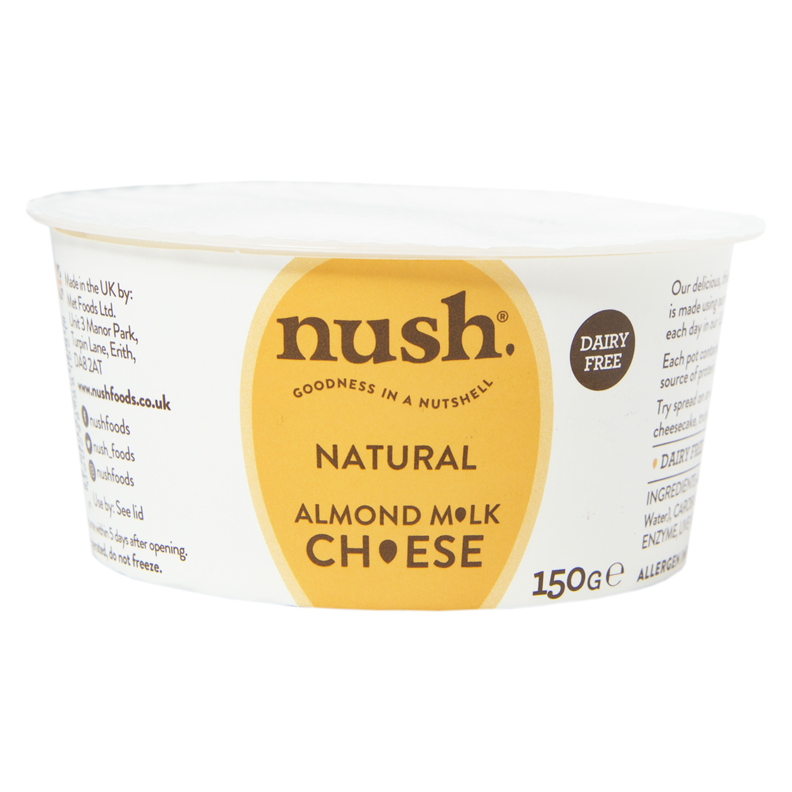 Nush Vegan Almond Cheese Style Dairy Free Spread Natural