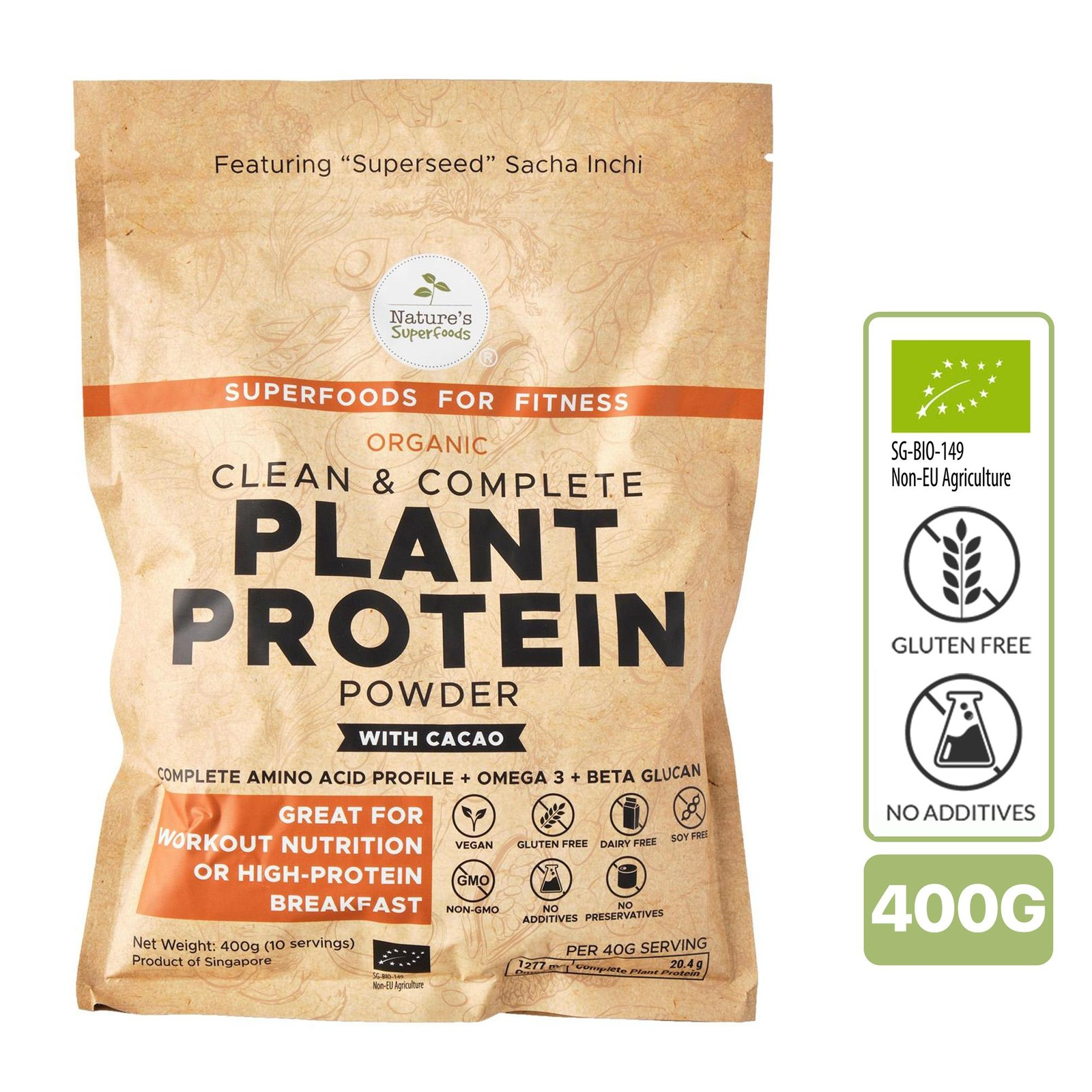 Nature's Superfoods Organic Plant Protein Powder (with Cacao)