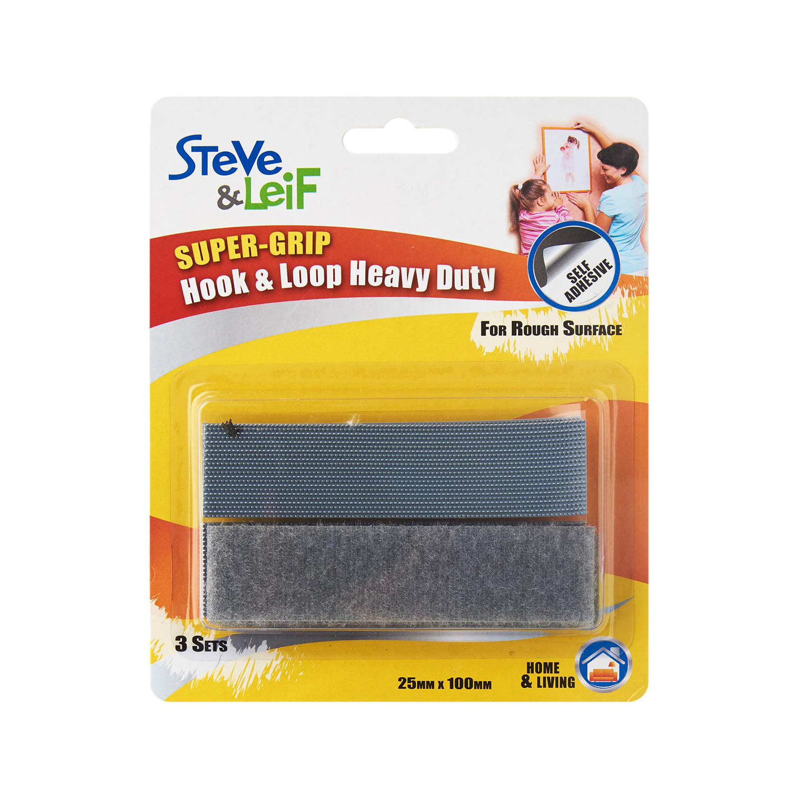 Steve & Leif SuperGrip Grey Hook and Loop Strips (4 Sets)