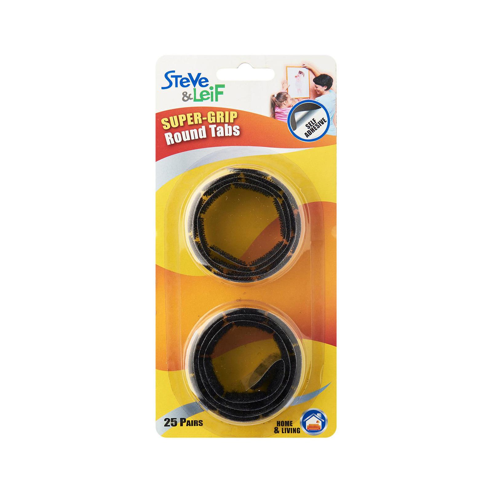 Steve & Leif SuperGrip Black Hook and Loop Round Tabs (25 Sets)