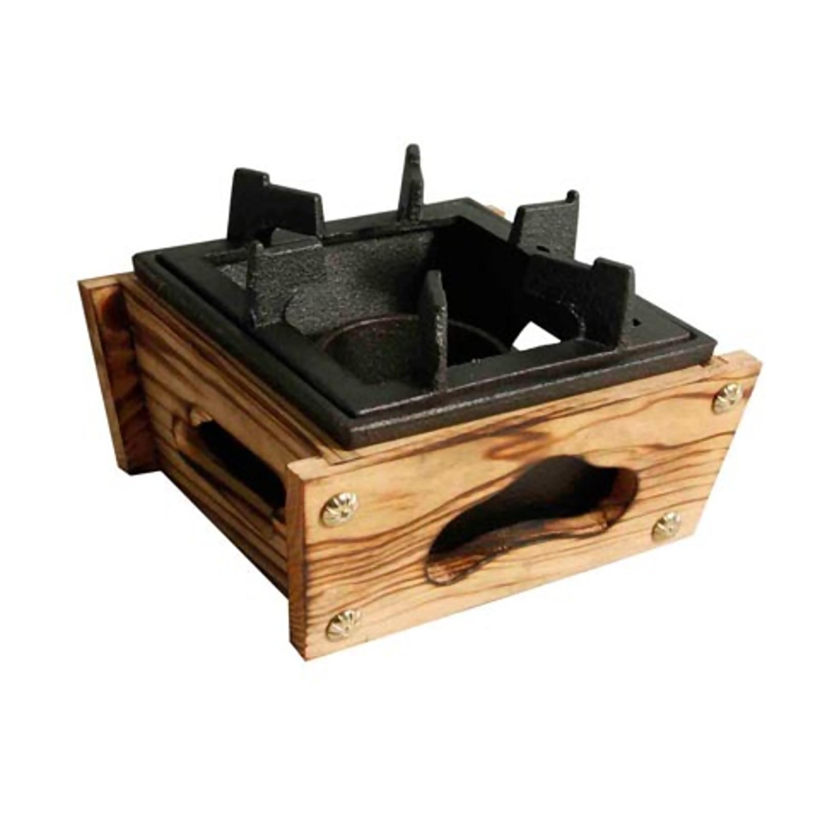 Square Cast Iron Stove 14Cm W/Wooden Base