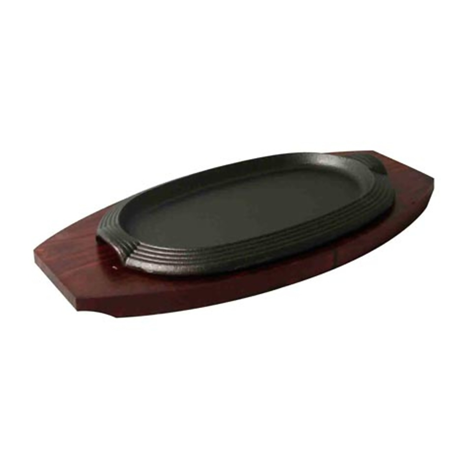 Oval Cast Iron Hot Plate L27Xw17Cm/23X14Cm W/Wooden Underliner
