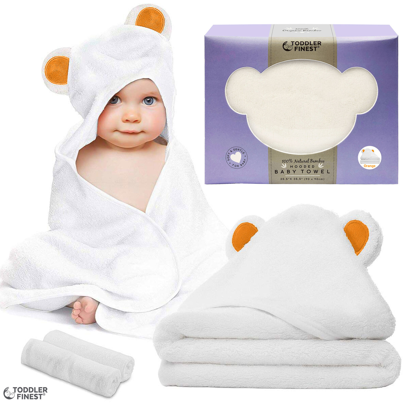 ToddlerFinest Baby Bamboo Hooded Bath Shower Towel (Orange)