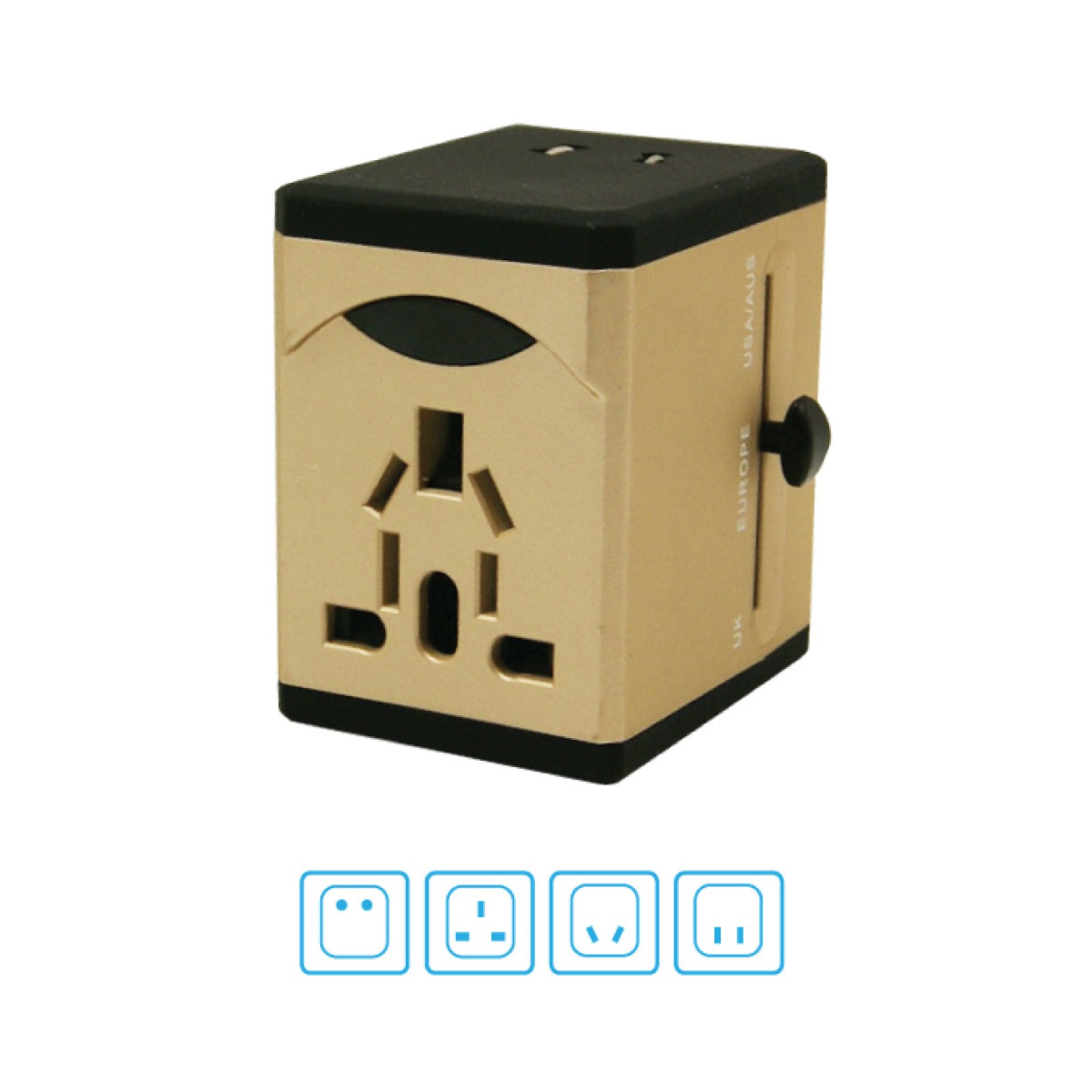 PowerPac Multi Travel Adapter With 2x USB Charger PP7972