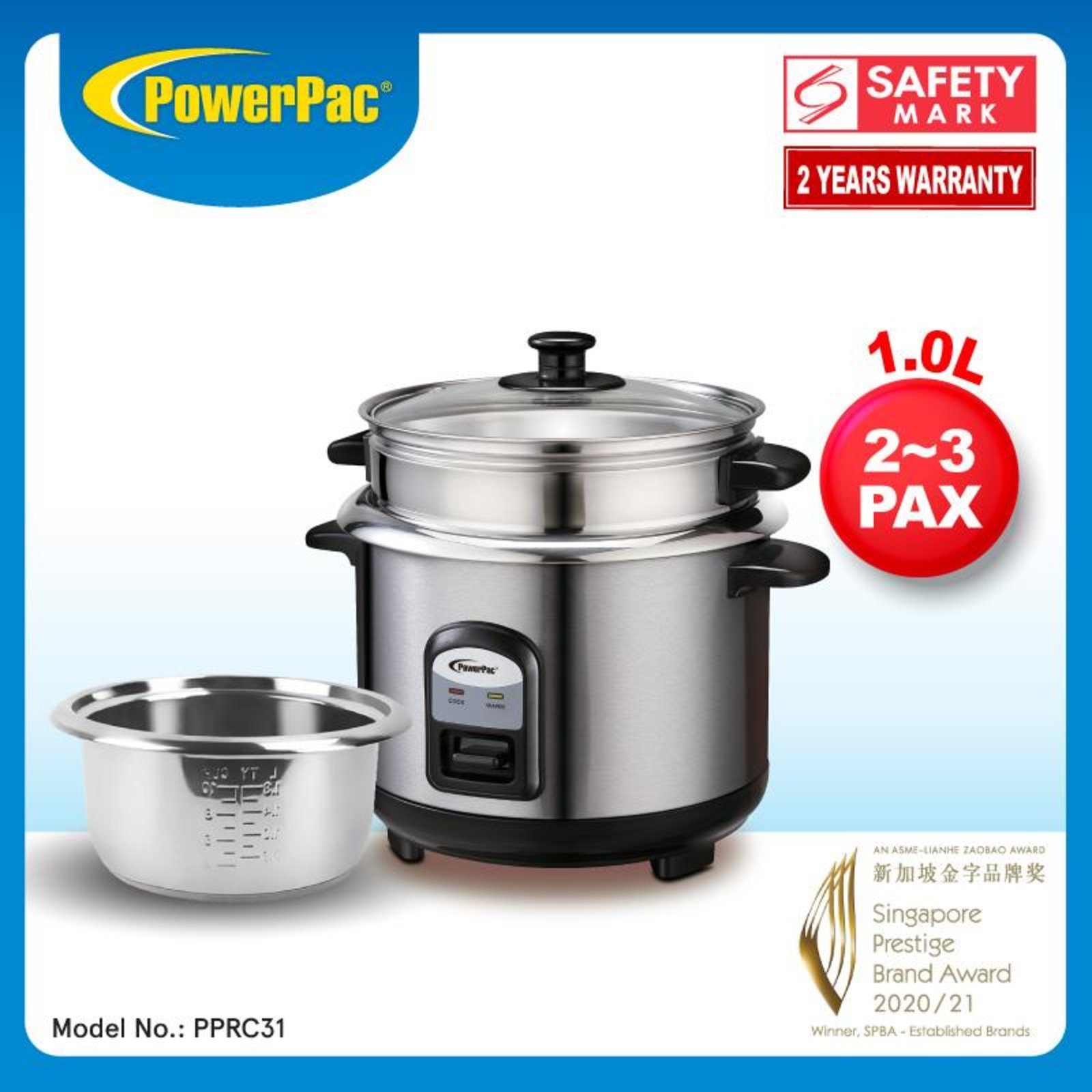 PowerPac 2.8L Rice Cooker With Aluminium Inner Pot - PPRC10