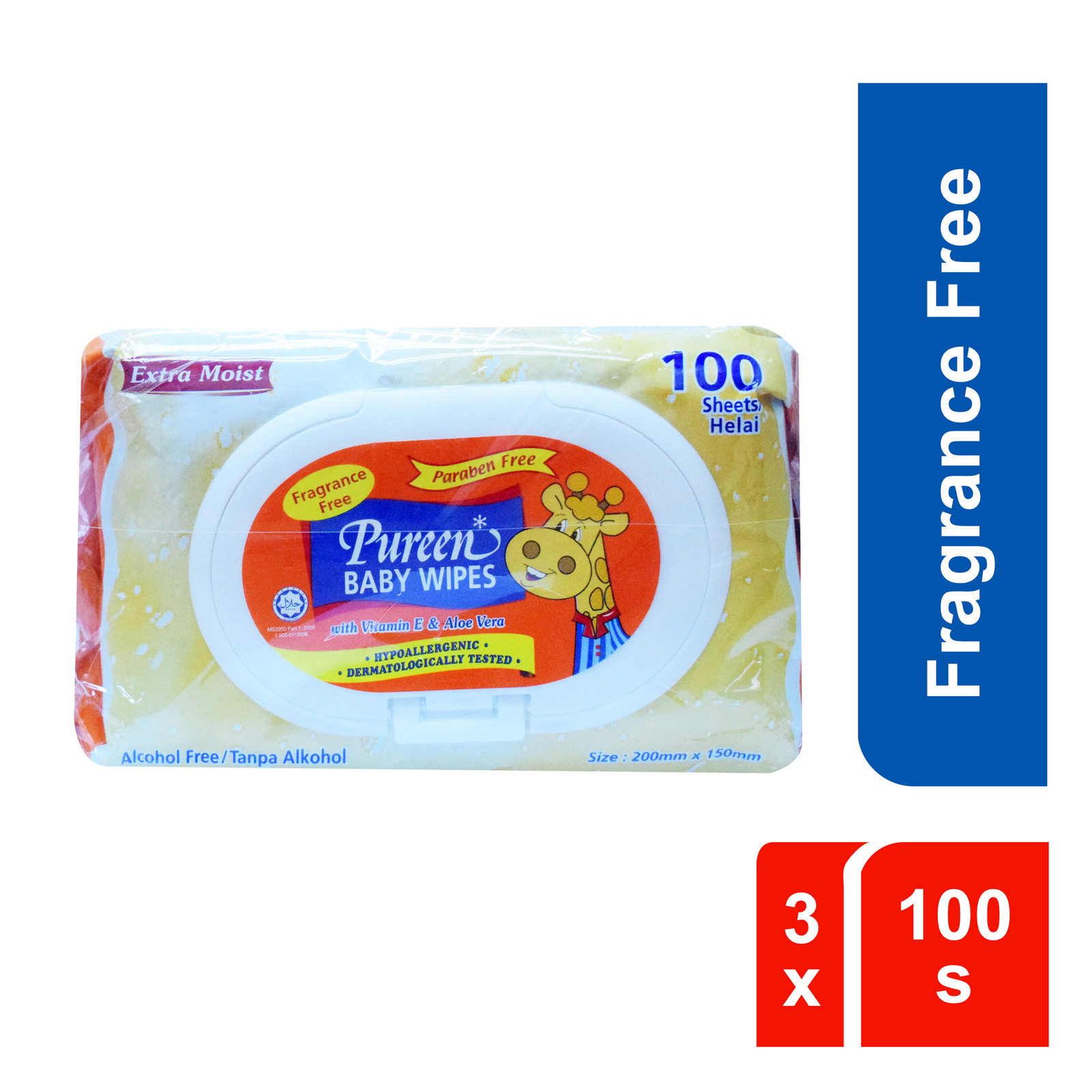 Pureen Fragrance Free Baby Wipes 3 x 100s