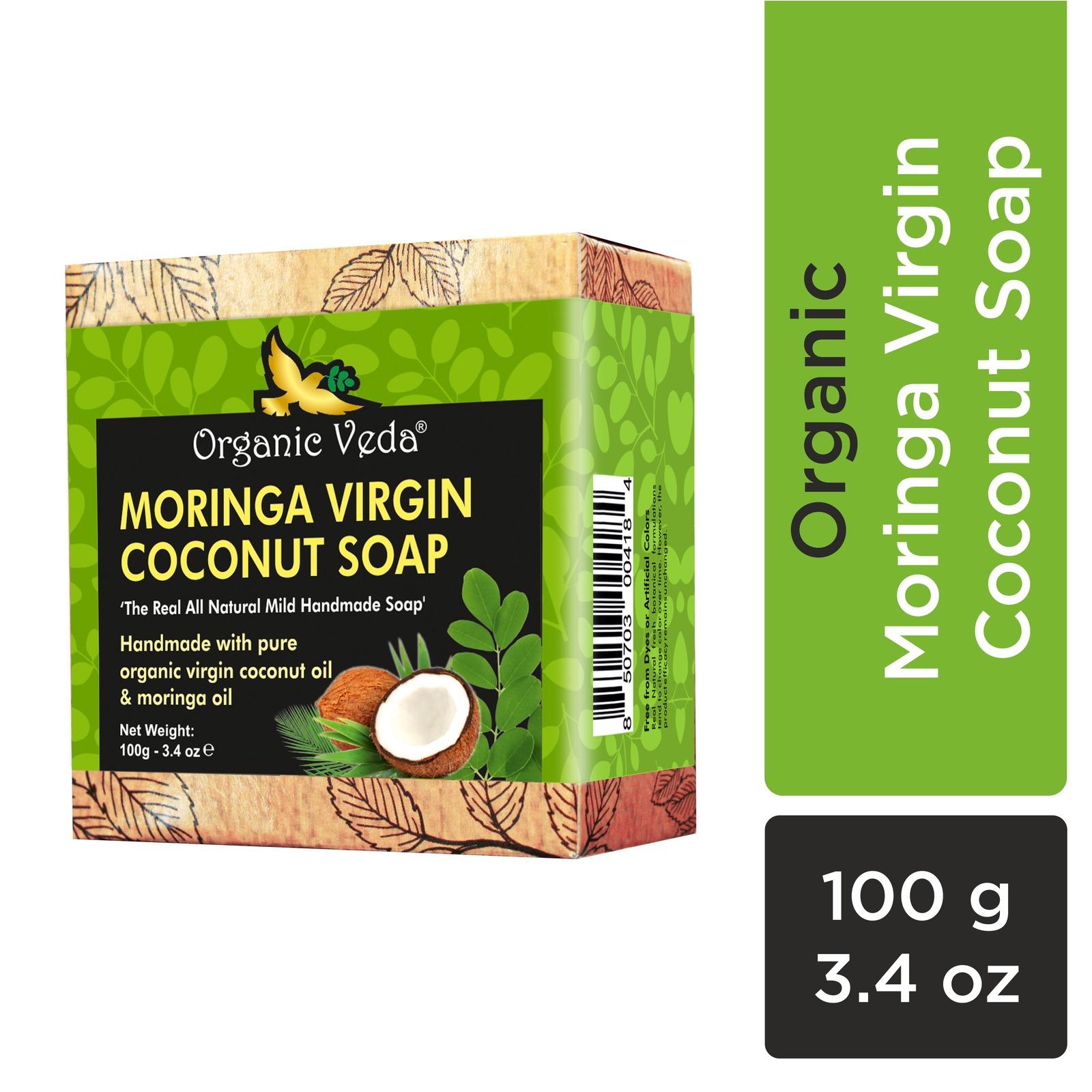 Organic Veda Moringa Virgin Coconut Soap 100 Grams / 3.4 oz