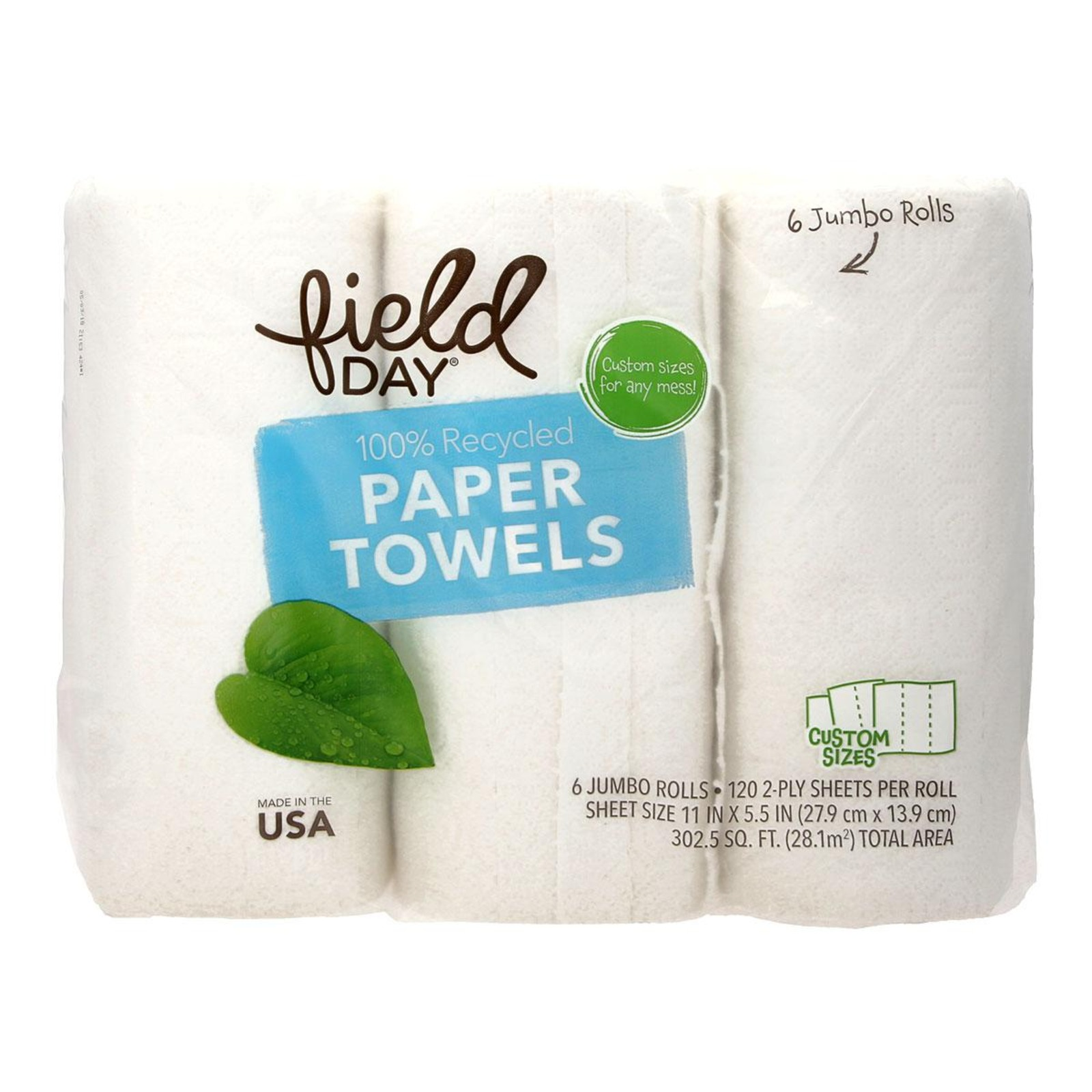 Field Day 100% Recycled Paper Towels Rolls
