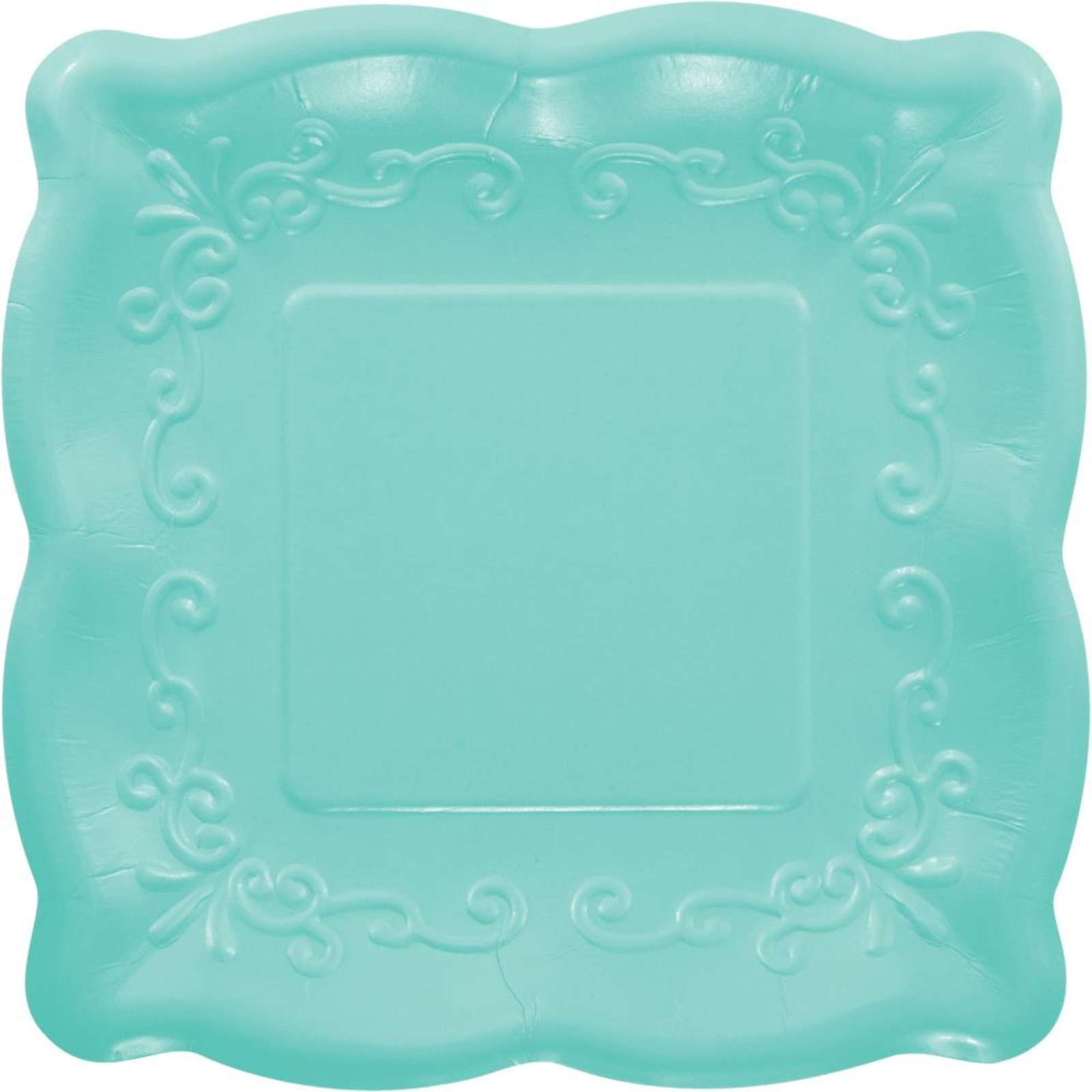 Creative Converting Teal 7 Inch Embossed Square Plates