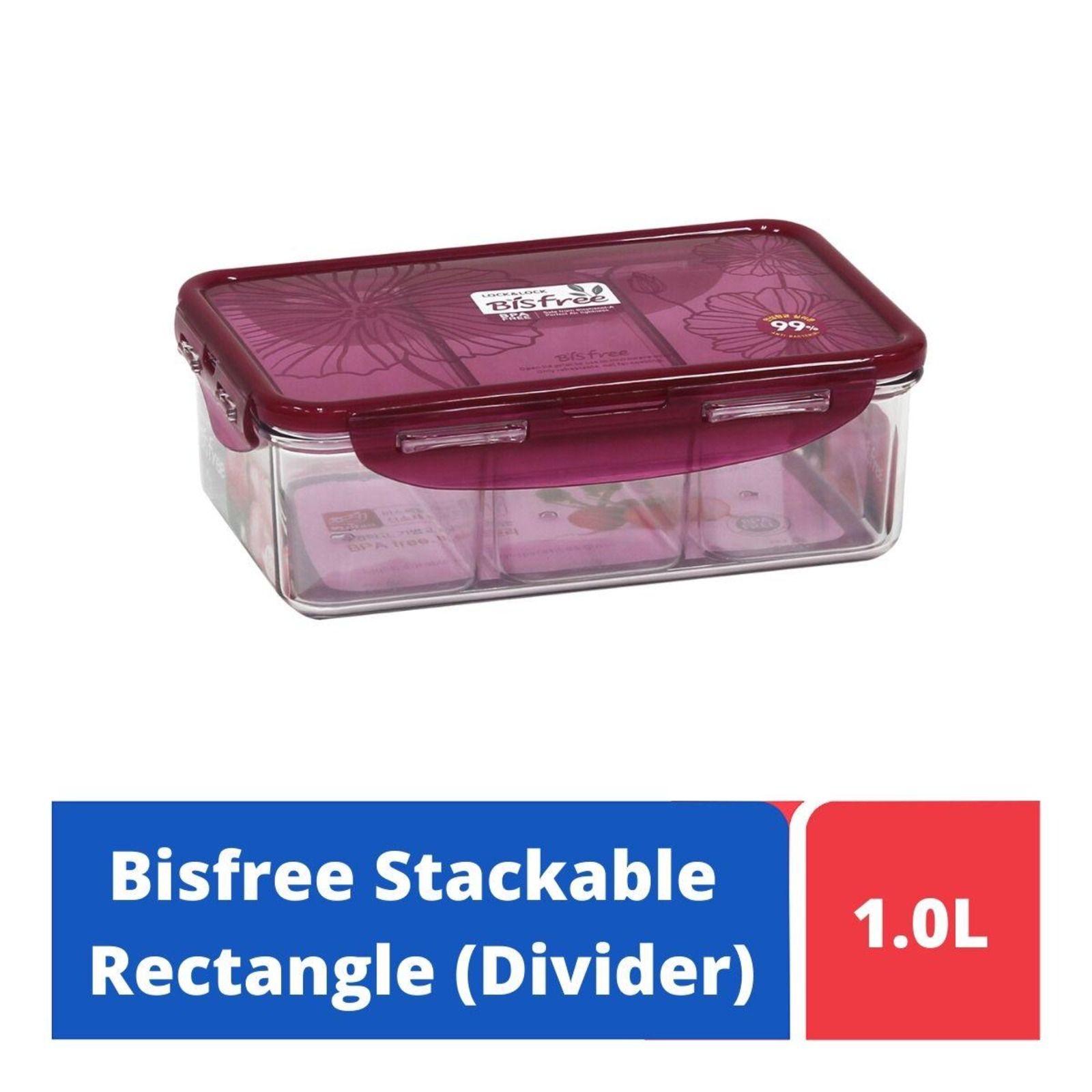Lock & Lock Rectangular Classic Food Container 1.6L With Divider
