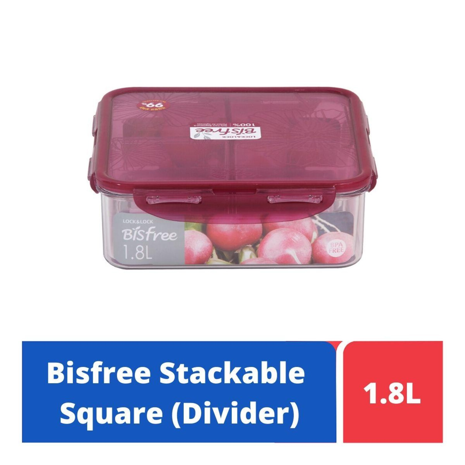 LOCK&LOCK Bisfree SQ Food Container with Divider 1.8L - Red
