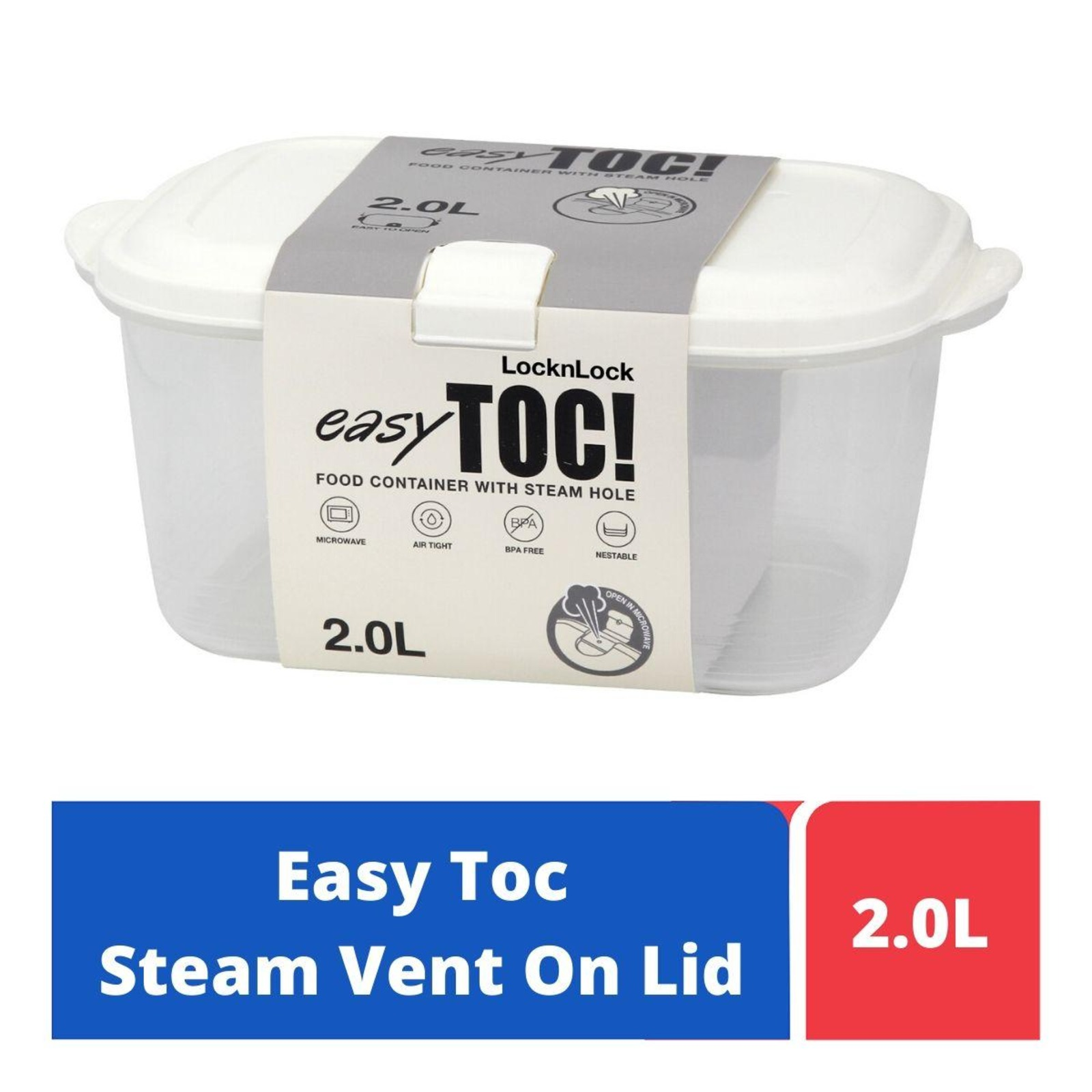 LOCK&LOCK Easy Toc Food Container 2.0L - White