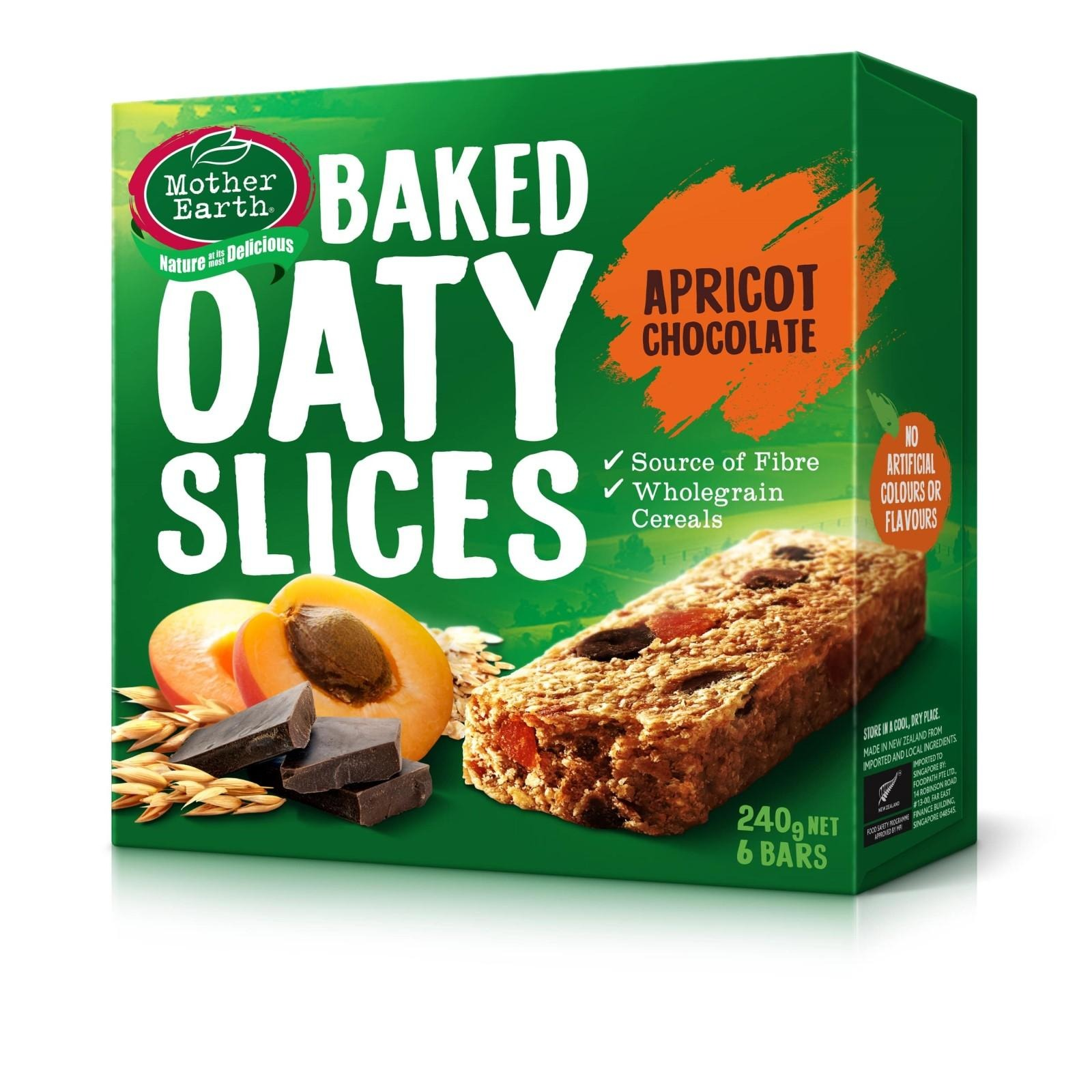 Mother Earth Baked Oaty Slice Apricot and Chocolate