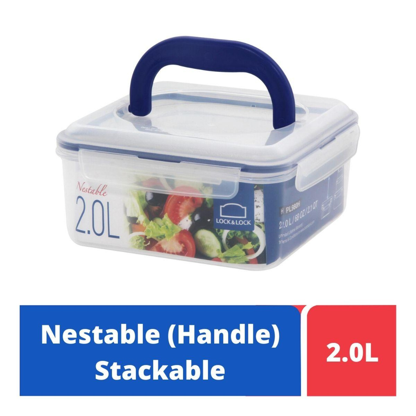 LOCK&LOCK Nestable Square Food Container with Handle 2L