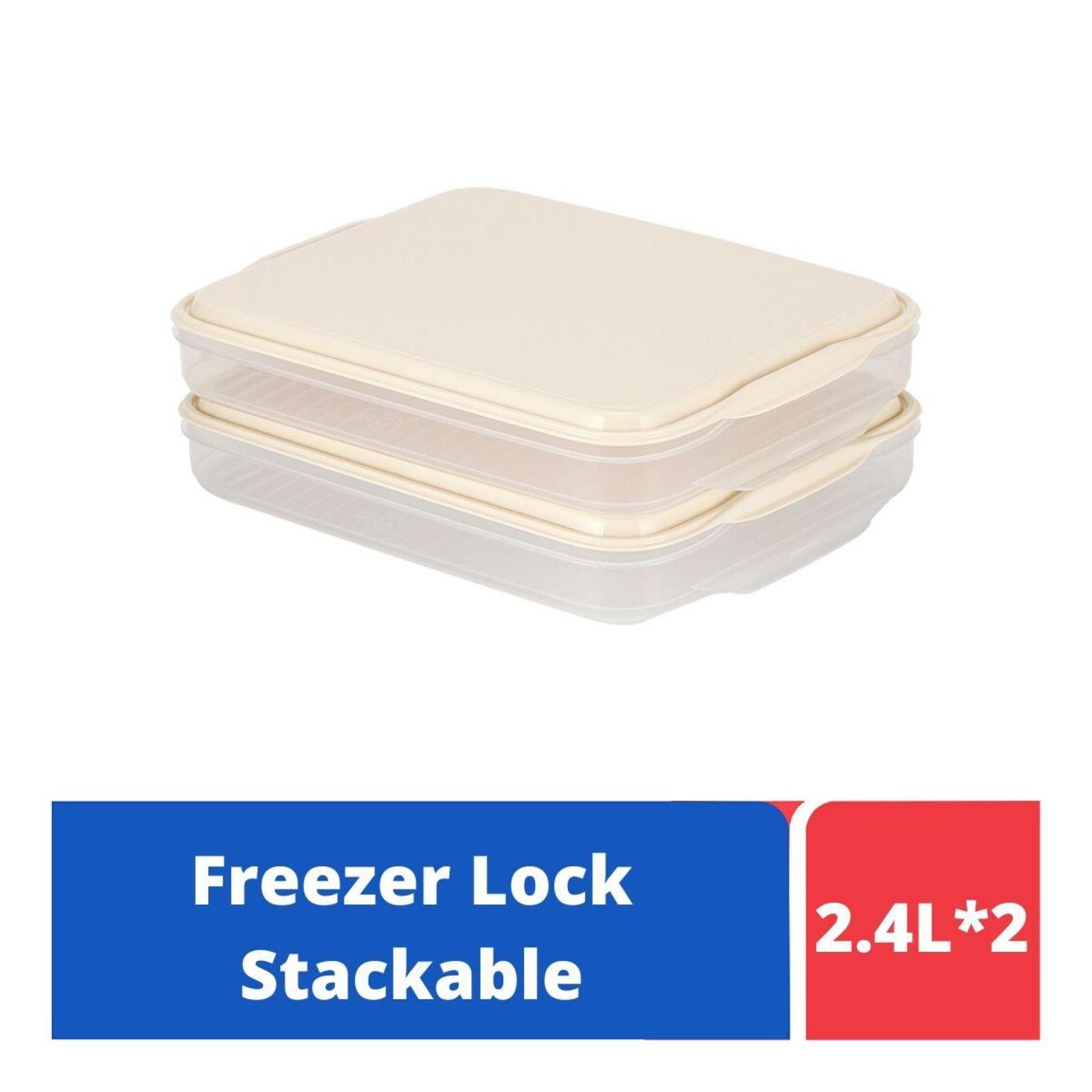 LOCK&LOCK Freezer Lock Container 2P Set Rect 2.4L - Ivory