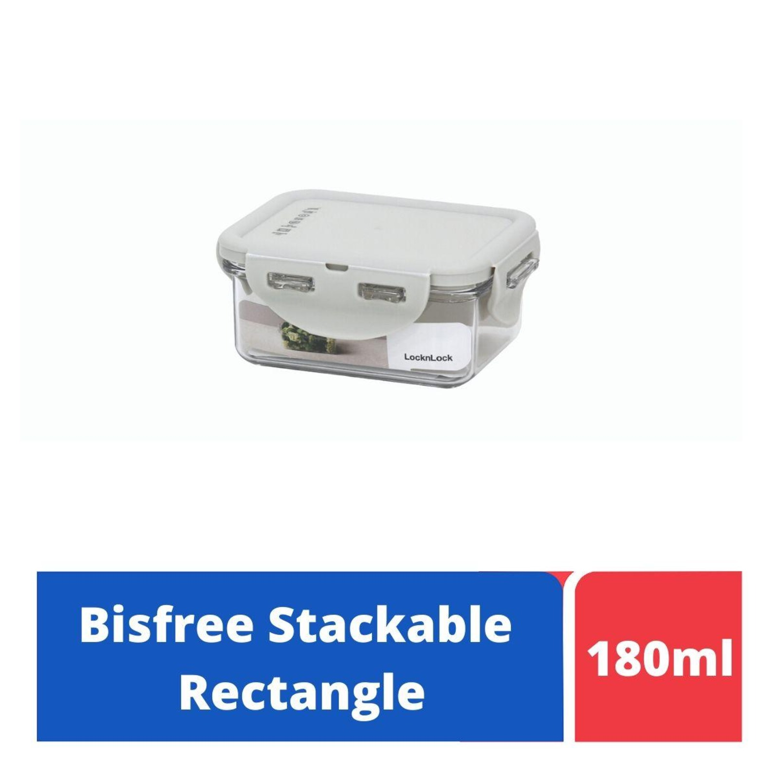 LOCK&LOCK Bisfree Rect Food Container 180ml - Grey