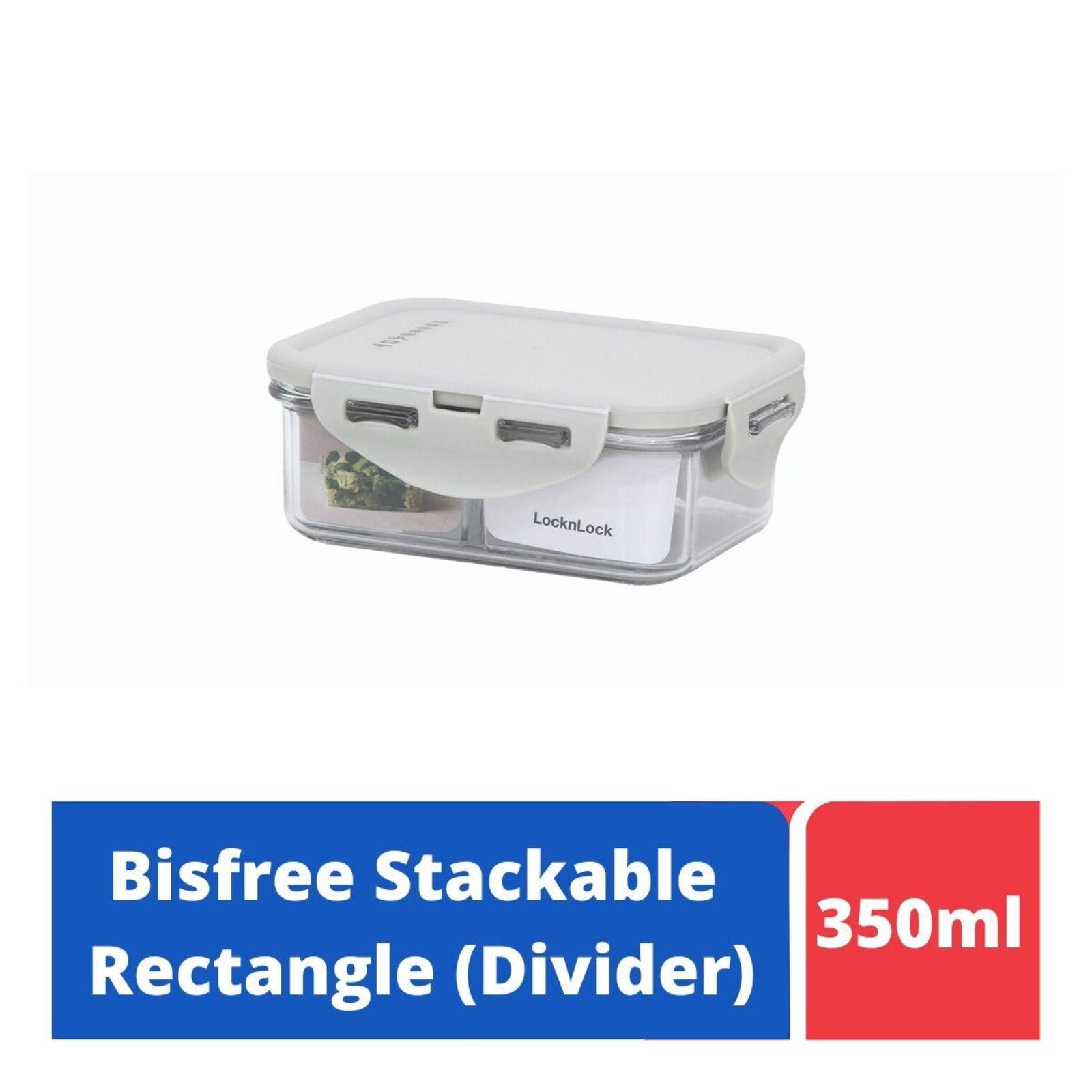 LOCK&LOCK Bisfree Rect Food Container w/Divider 350ml - Grey
