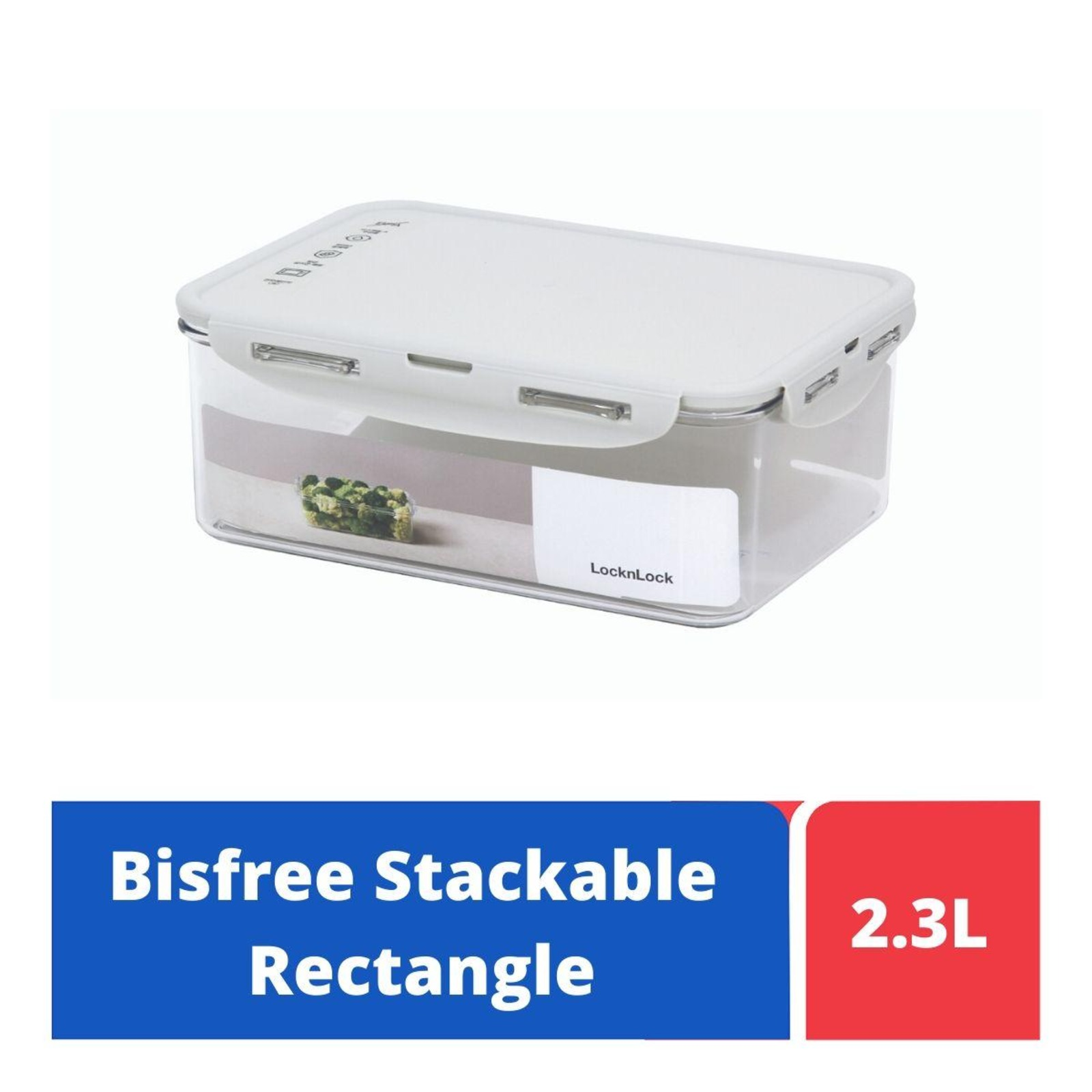 LOCK&LOCK Bisfree Rect Food Container 2.3L - Grey